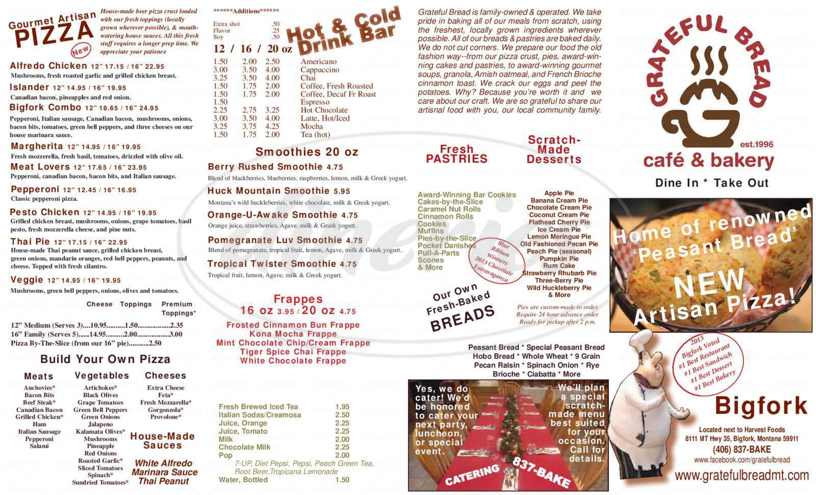 menu for Grateful Bread Cafe & Bakery