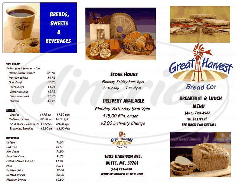 menu for Great Harvest Bread