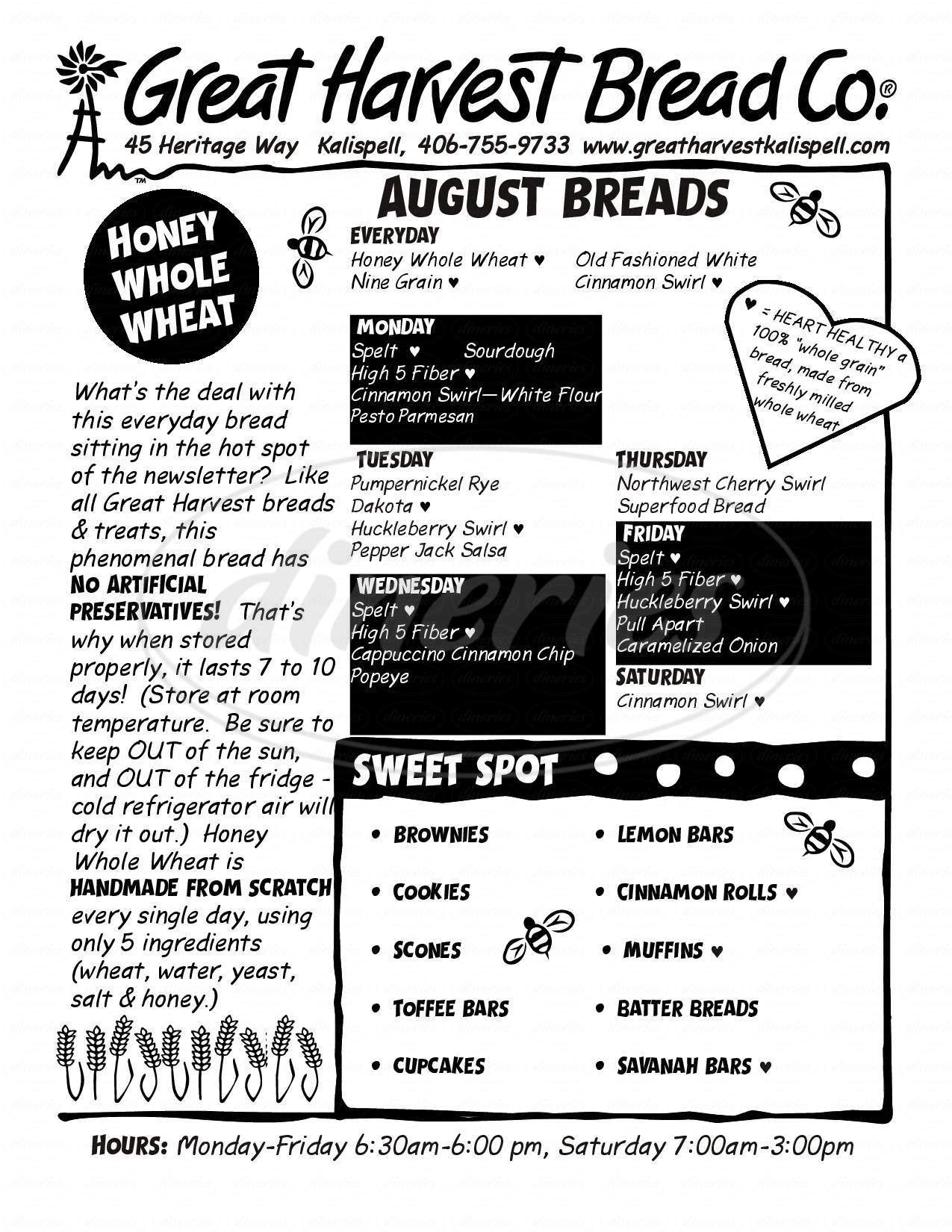 Big menu for Great Harvest Bread Company, Kalispell