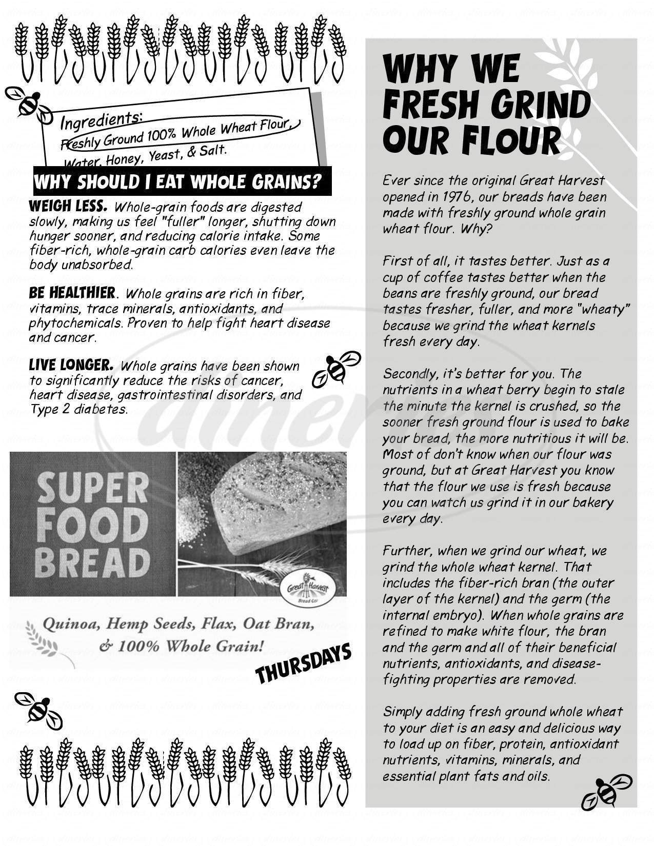 menu for Great Harvest Bread Company