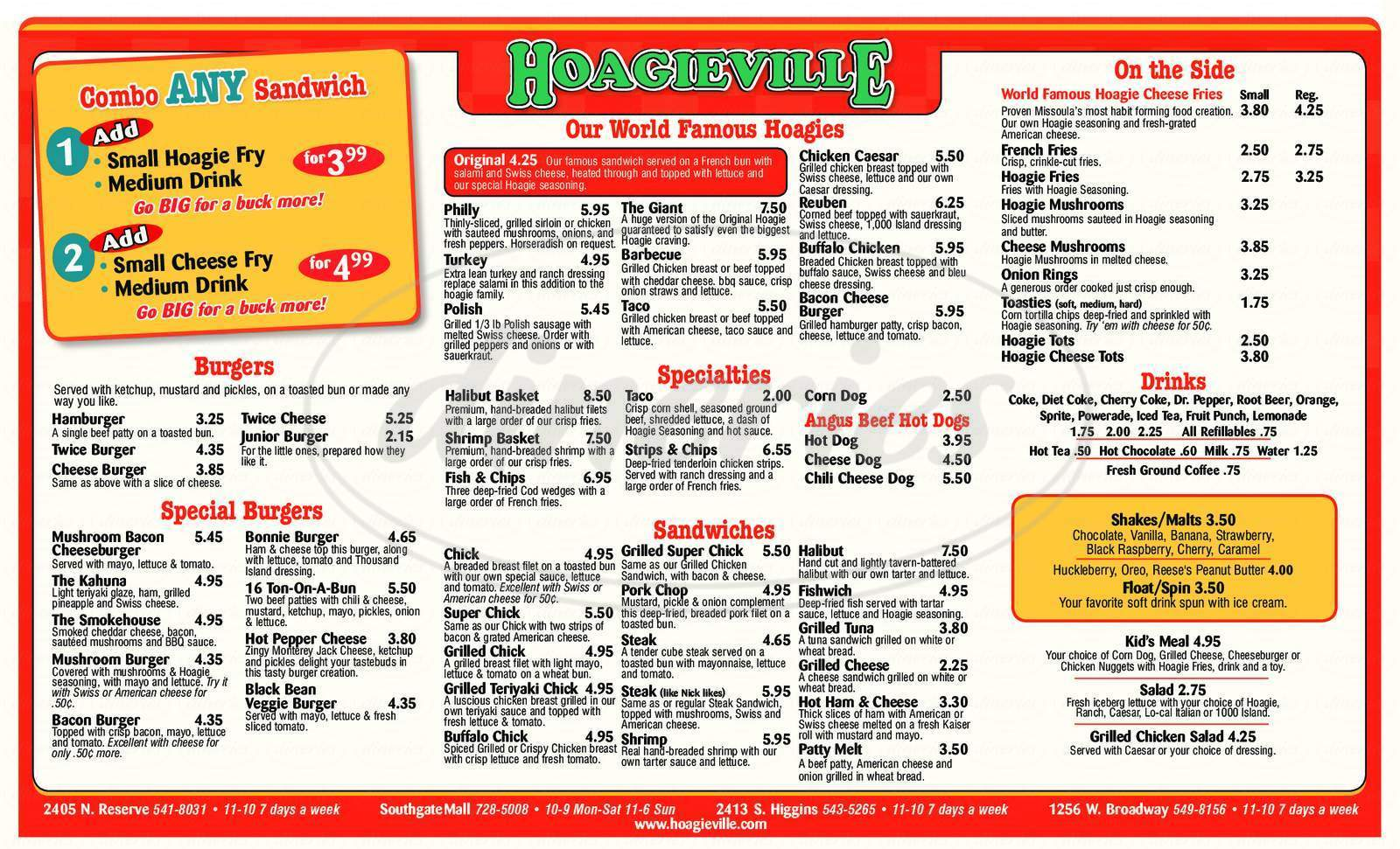 menu for Hoagieville