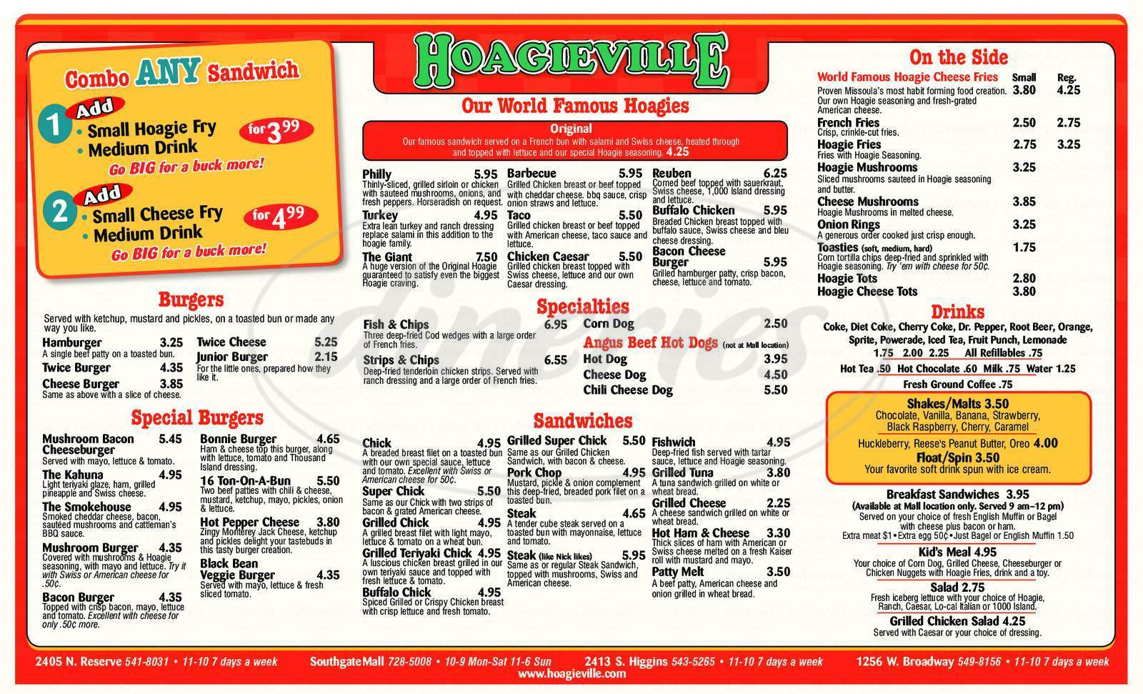 menu for Hoagivielle