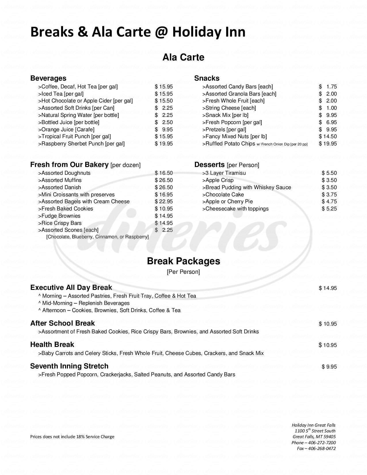 menu for Holiday Inn