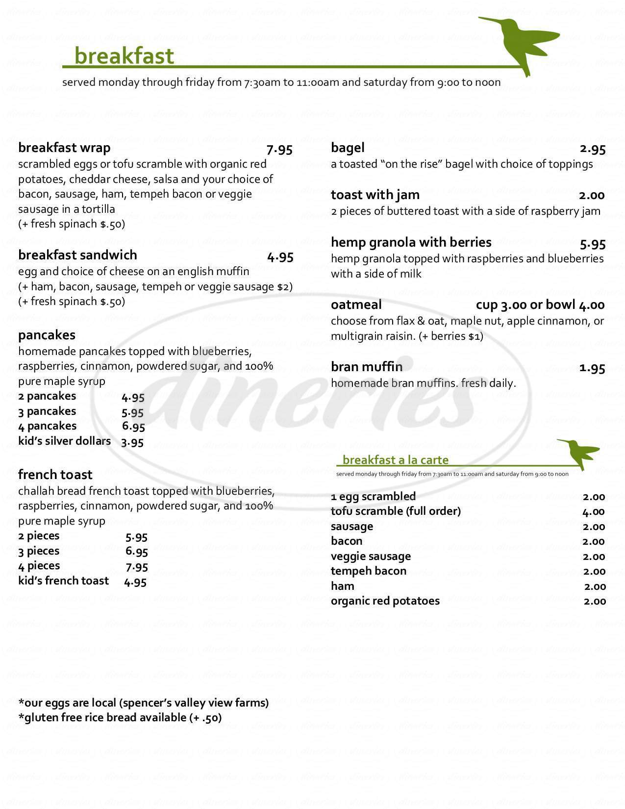 menu for Hummingbird Cafe