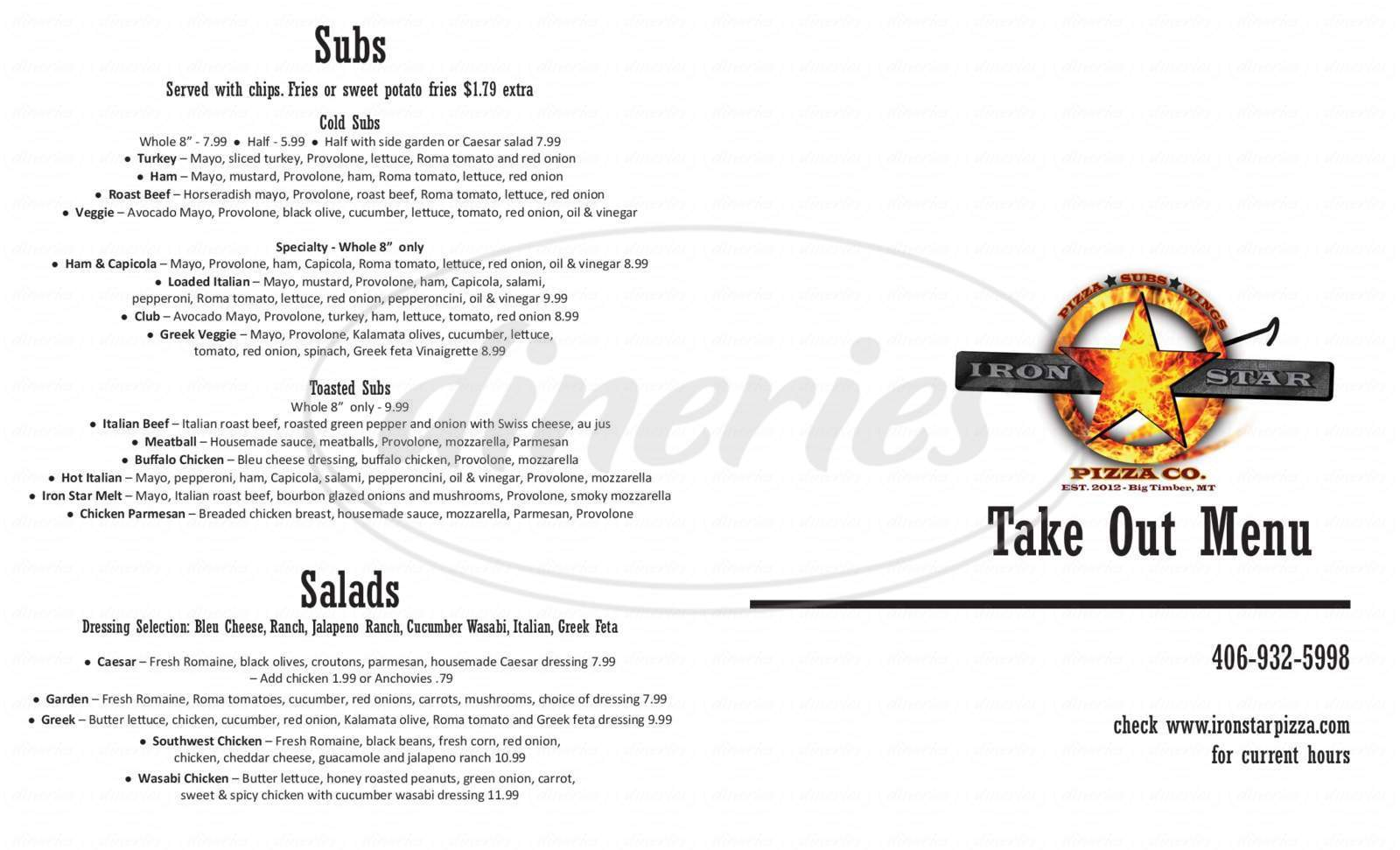 menu for Iron Star Pizza Co.