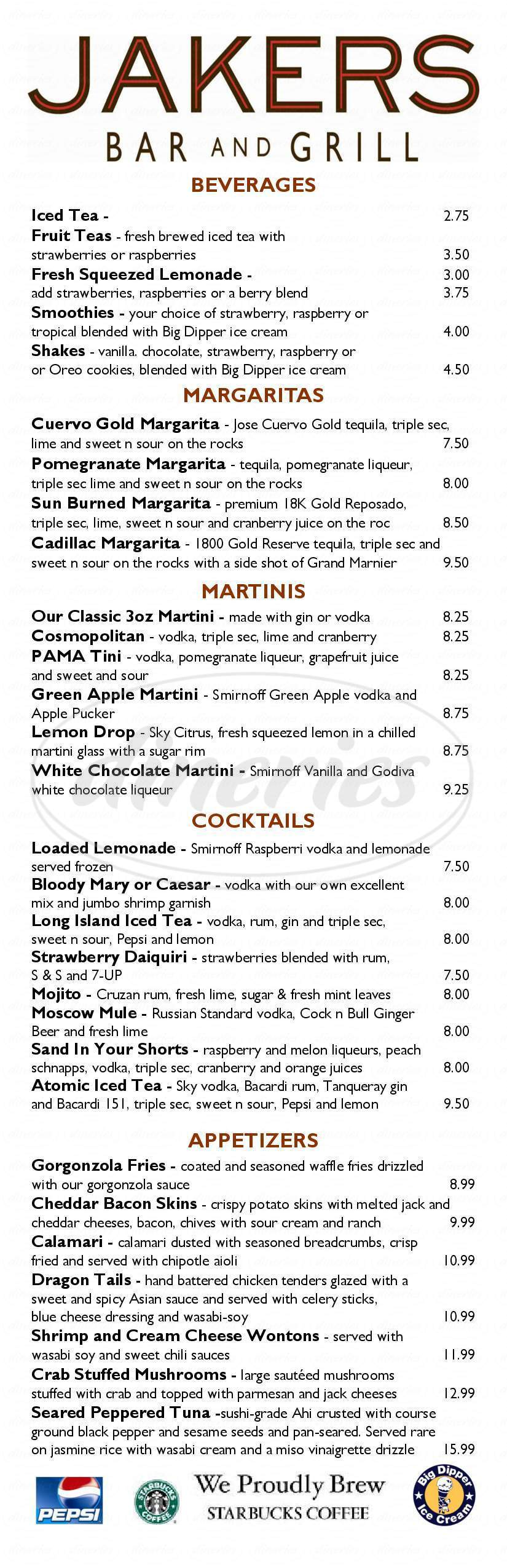 menu for Jaker's Bar & Grill