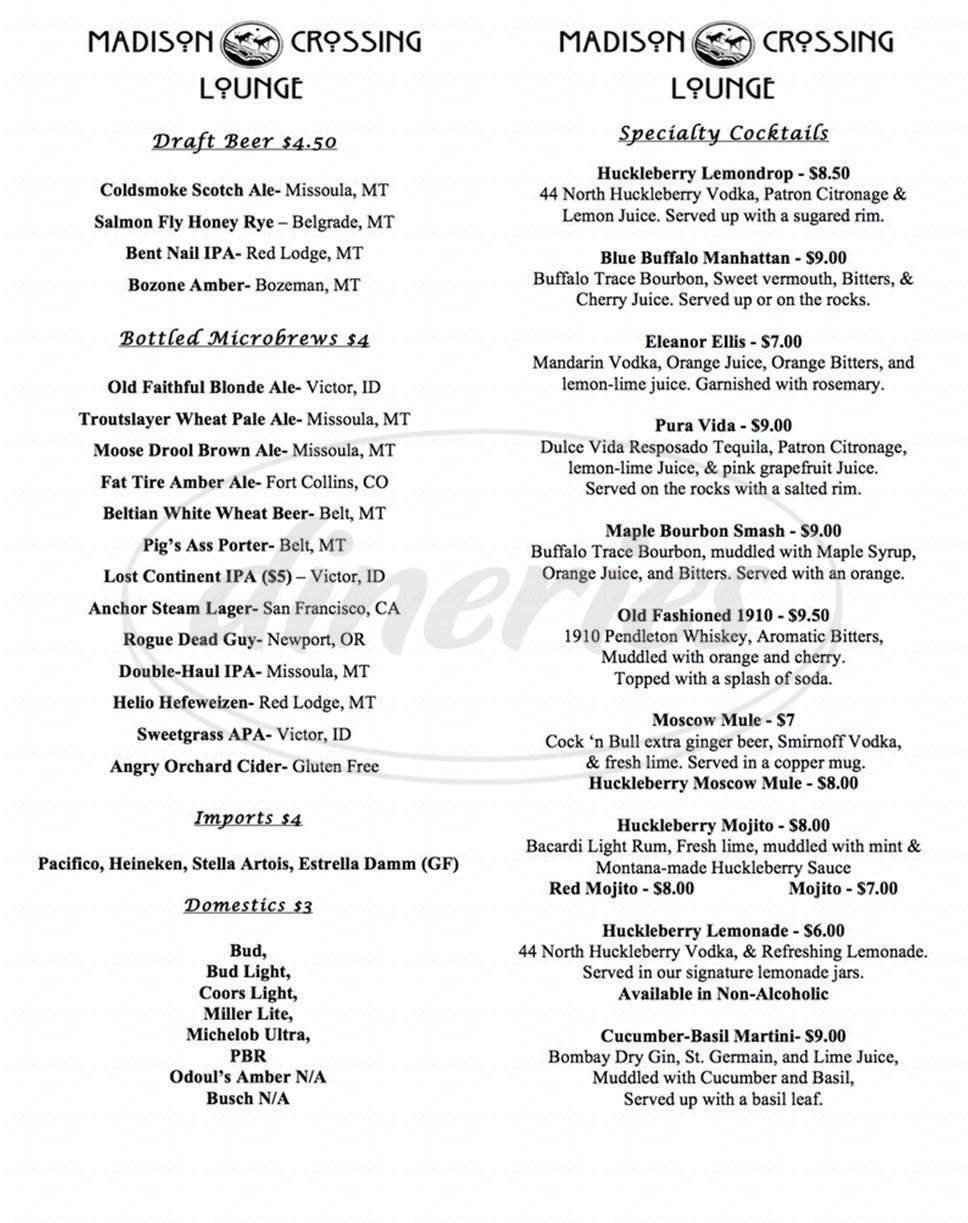 menu for Madison Crossing Lounge