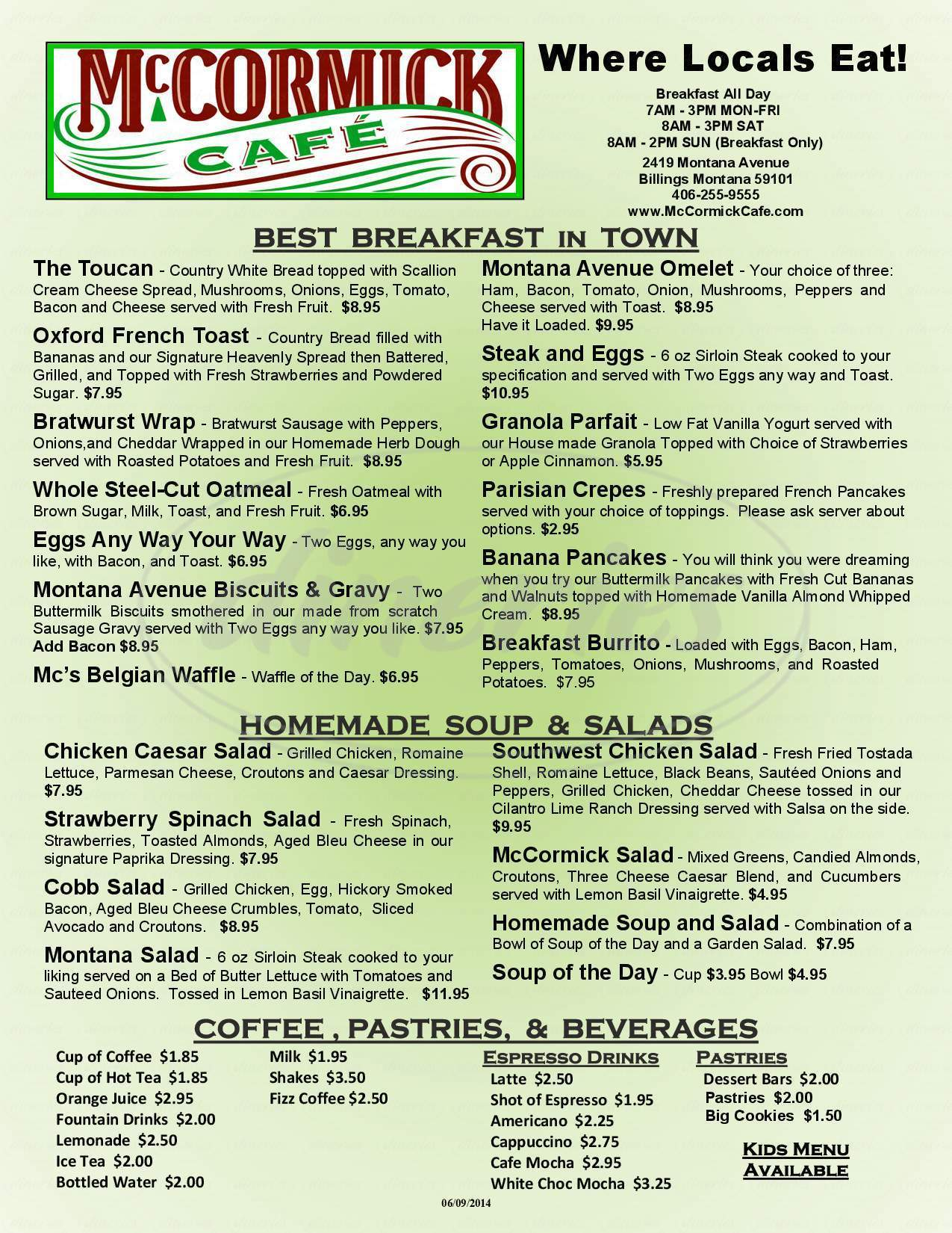 menu for McCormick Cafe