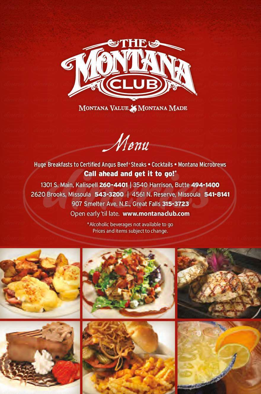 menu for Montana Club North Reserve