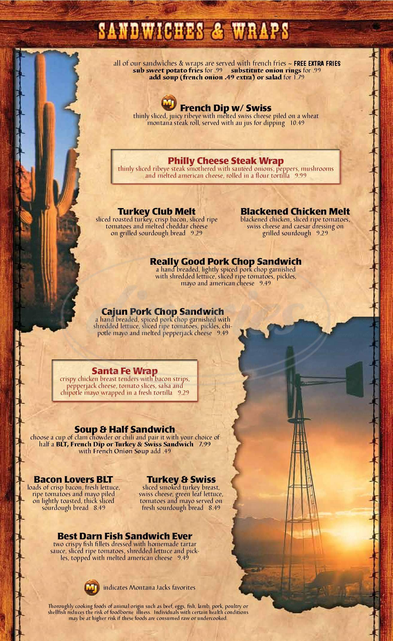 menu for Montana Jacks