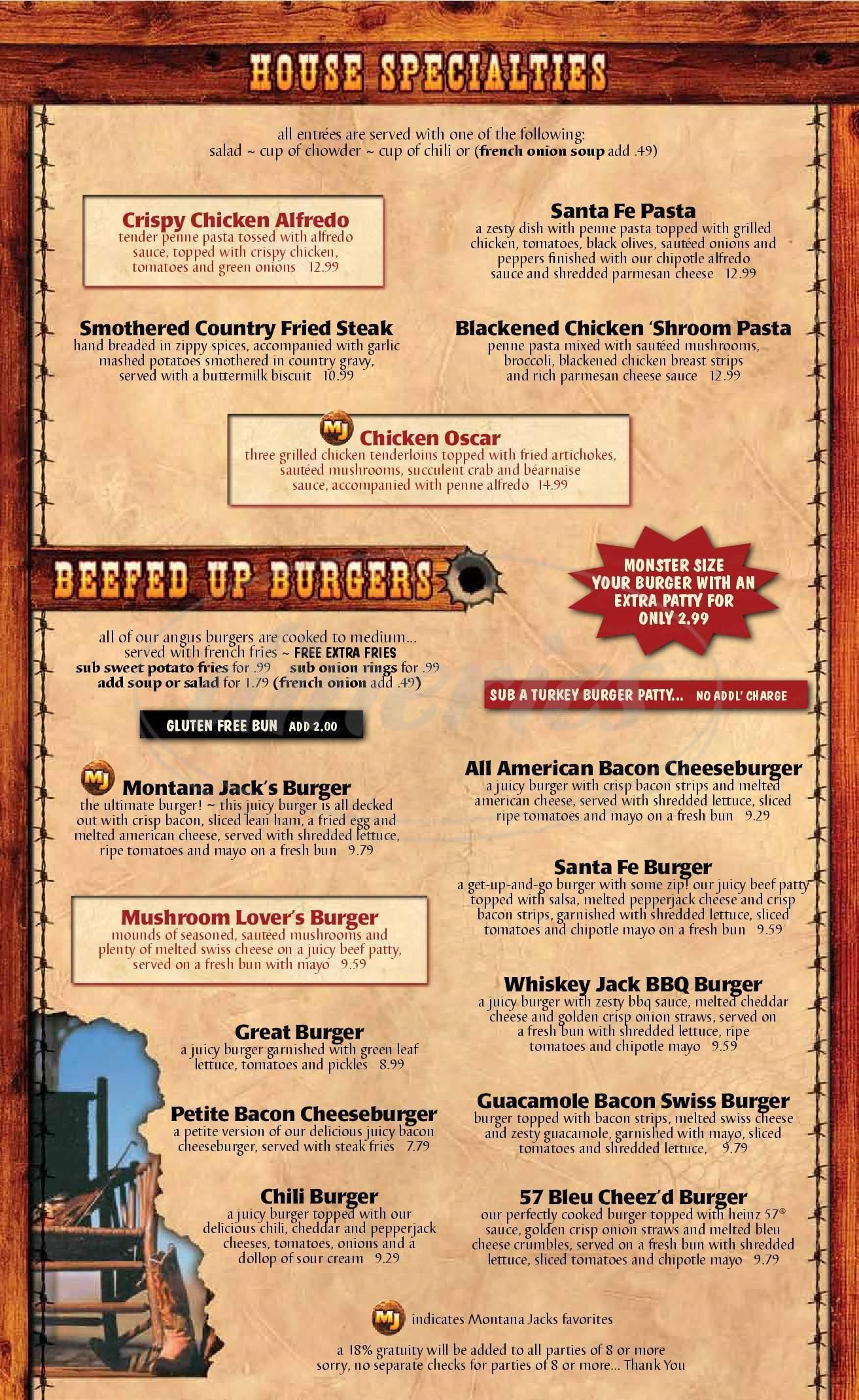 menu for Montana Jacks