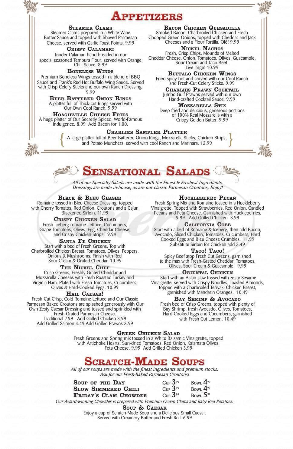 menu for Nickel Charlie's Casino