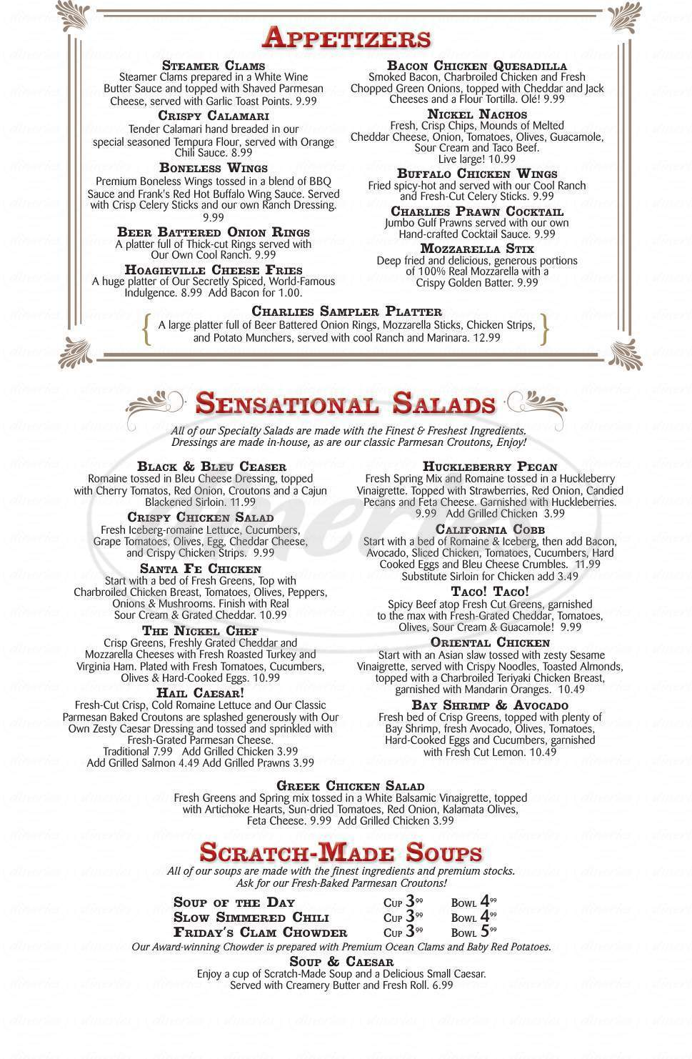 menu for Nickel Charlie's Casino