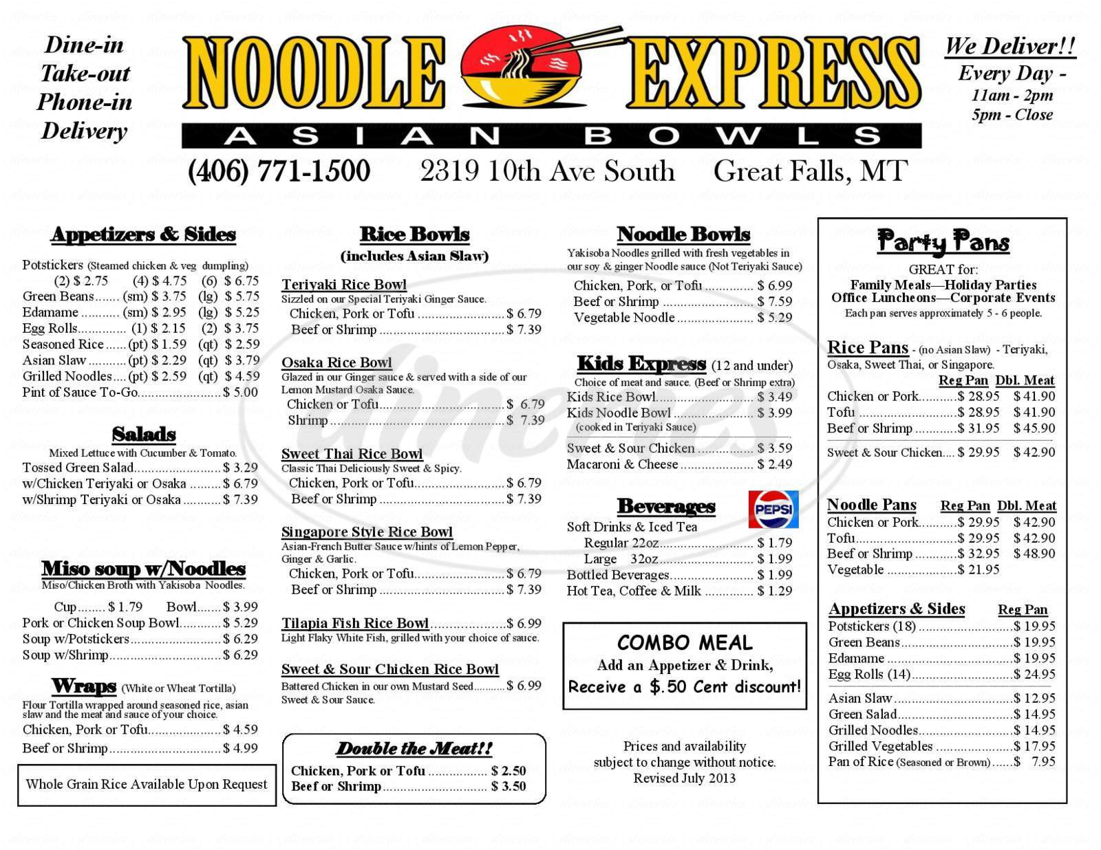 menu for Noodle Express