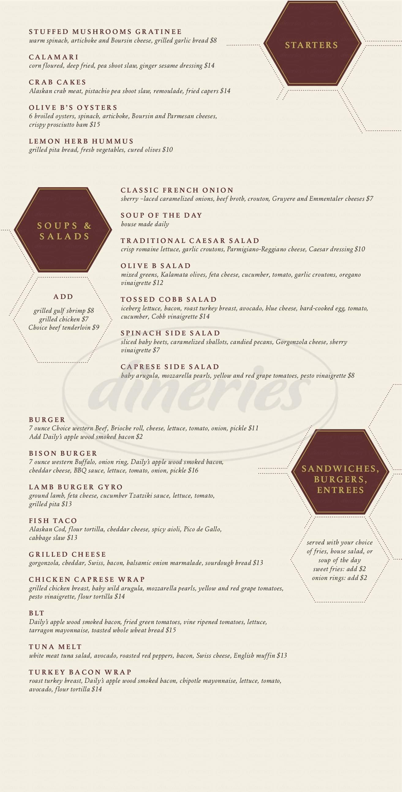 menu for Olive B's Big Sky Bistro