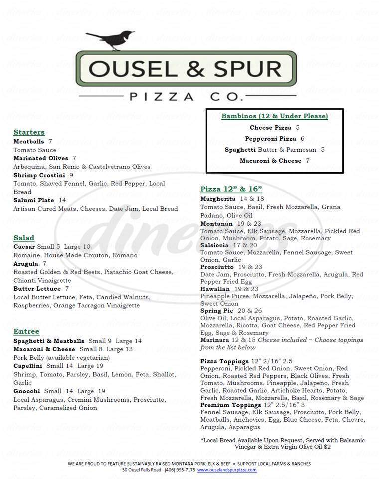 menu for Ousel & Spur Pizza Co