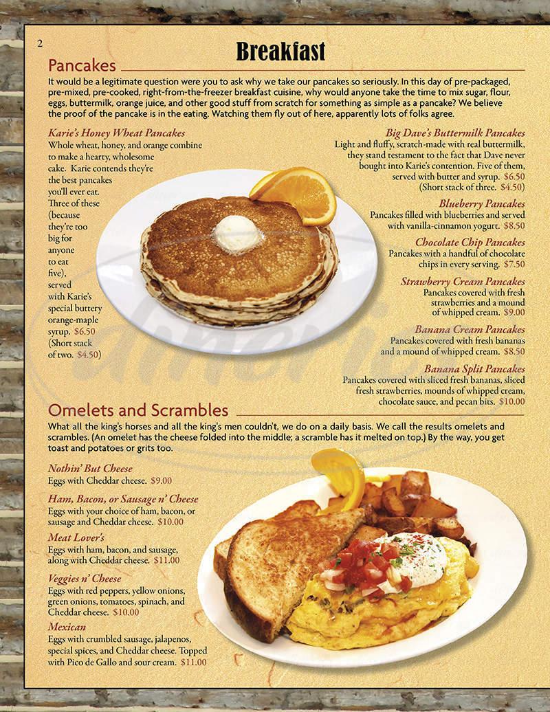 menu for Pocketstone Cafe