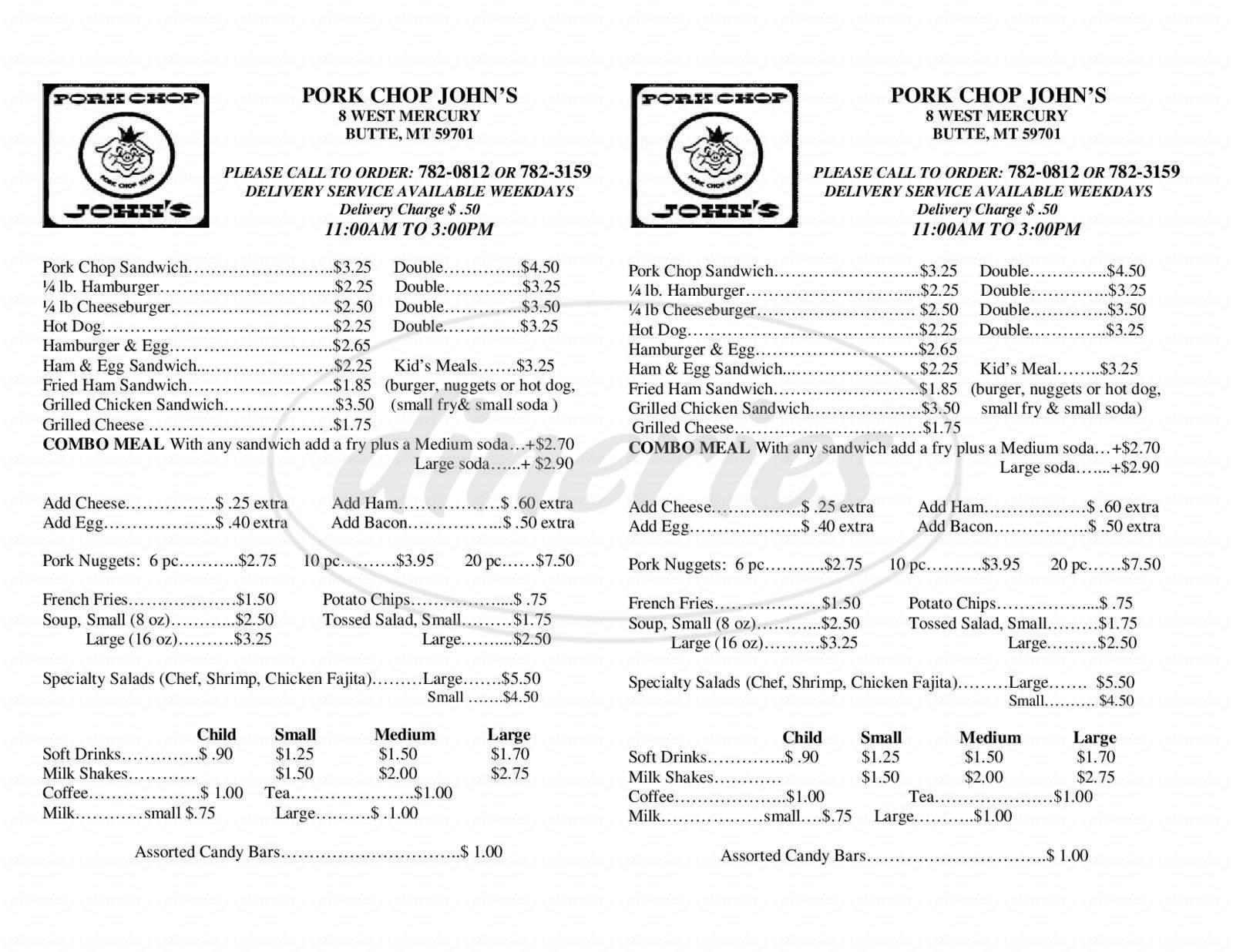 menu for Pork Chop John's
