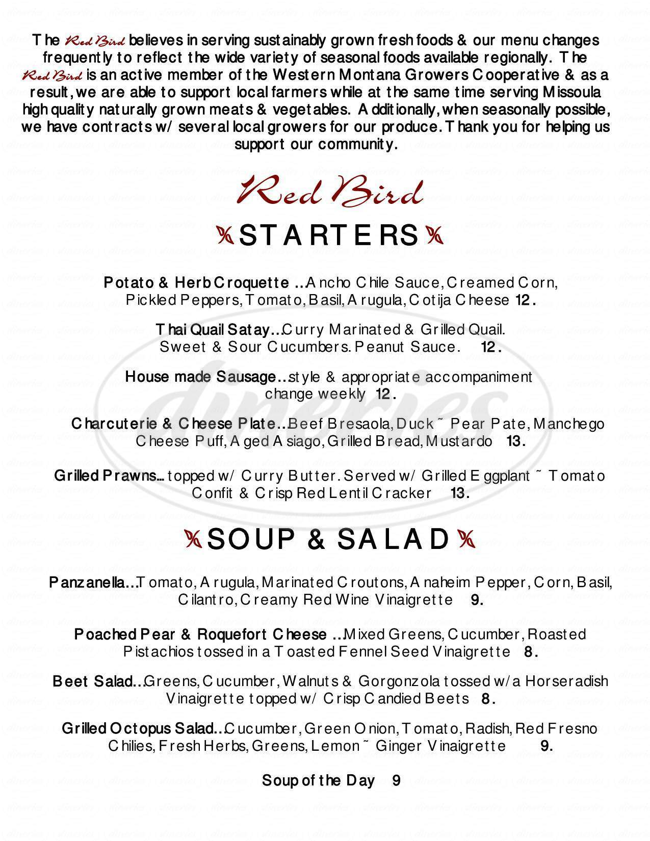 menu for Red Bird Restaurant and Wine Bar