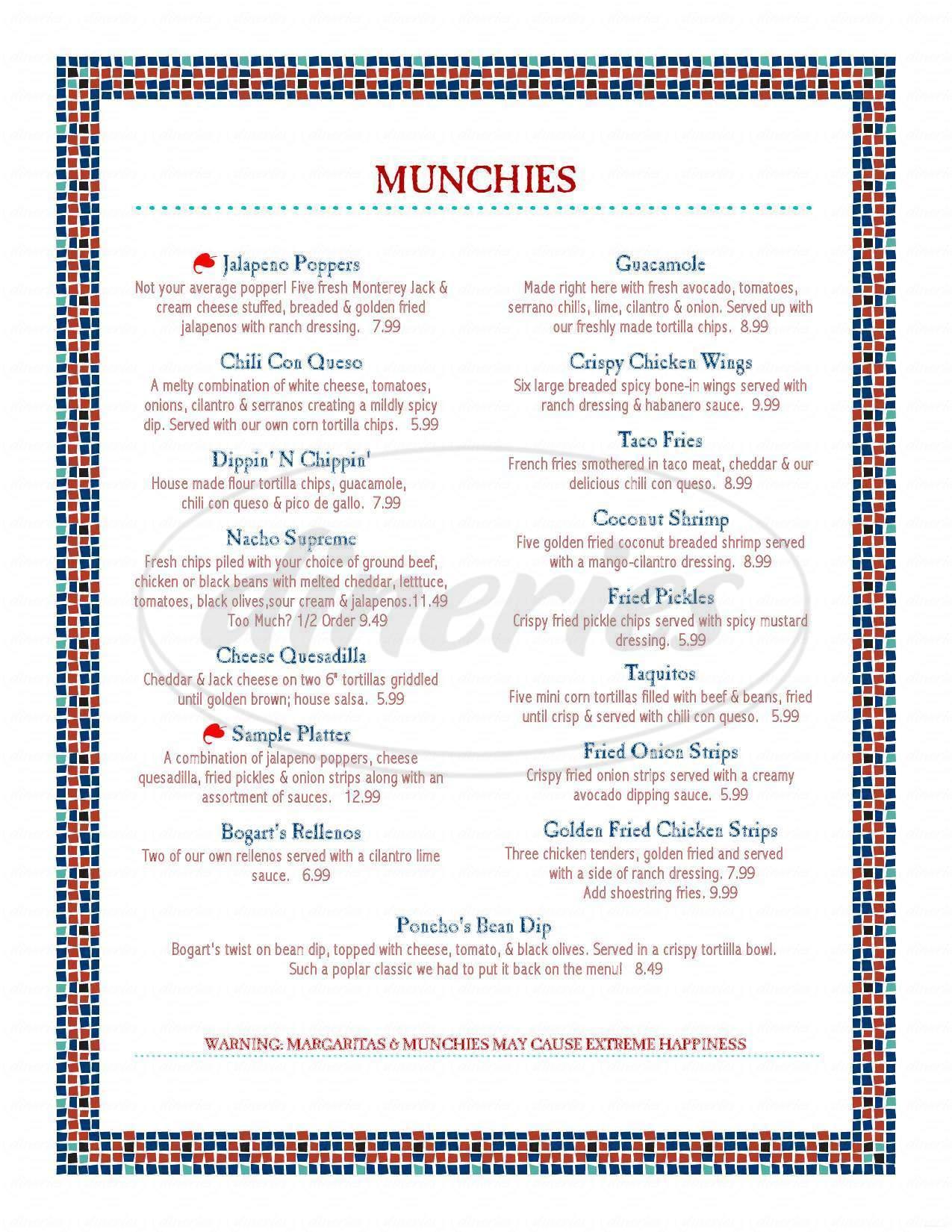 menu for Bogart's Restaurant