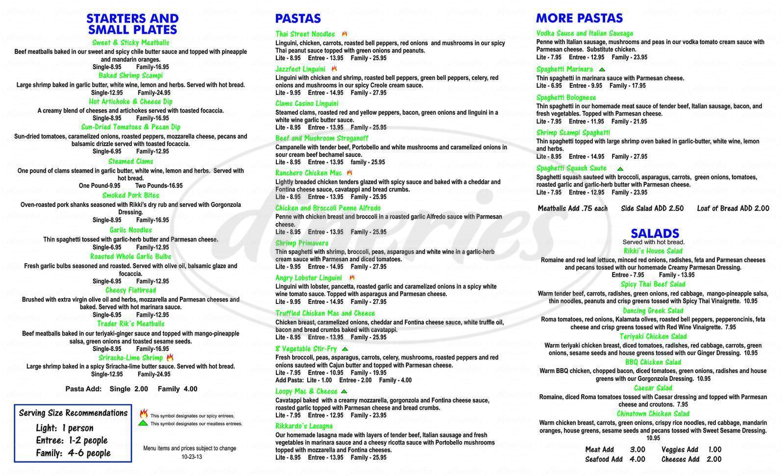menu for Rikki's Pizza & Pasta