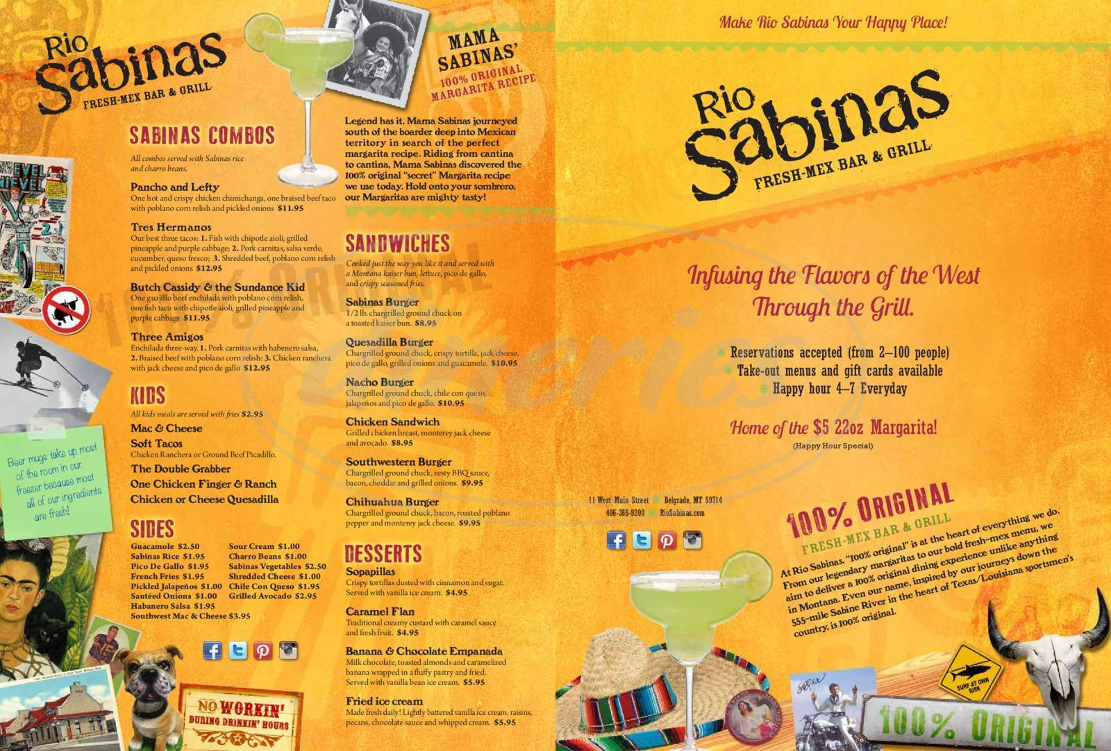 menu for Rio Sabina's Southwestern Grill