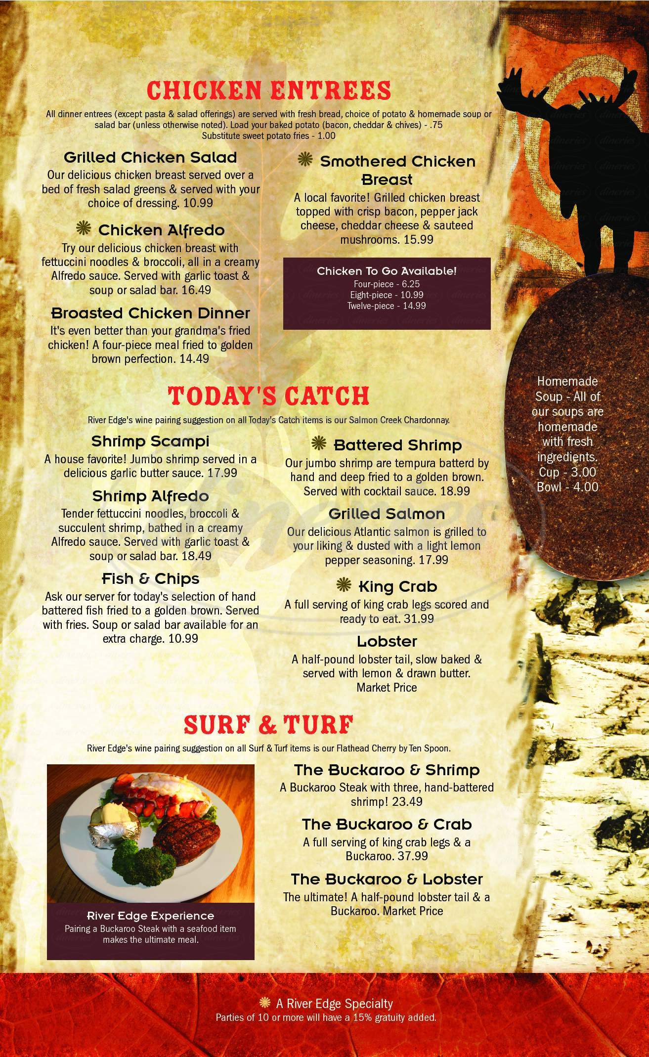 menu for River Edge Resort & Steakhouse
