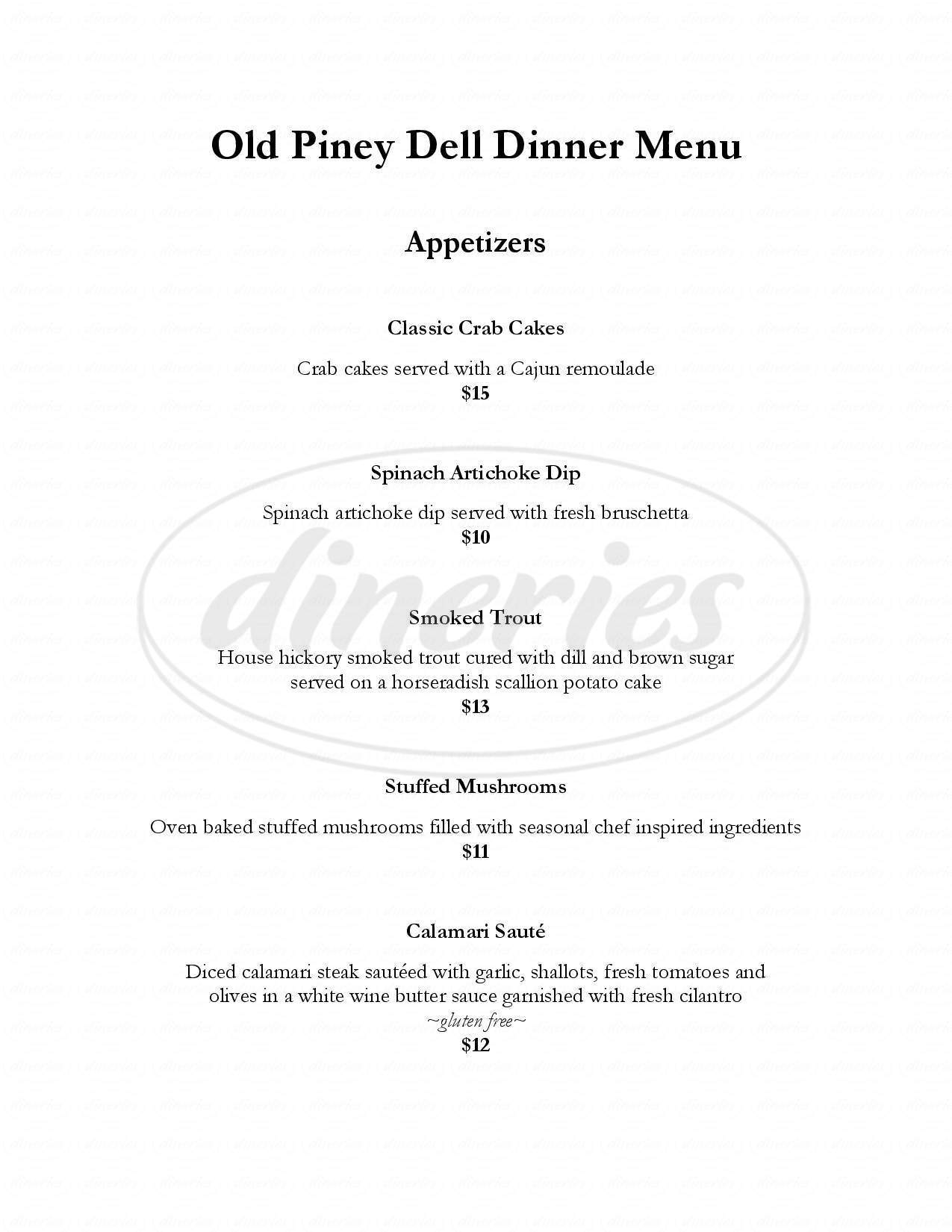 menu for Old Piney Dell Restaurant & Bar