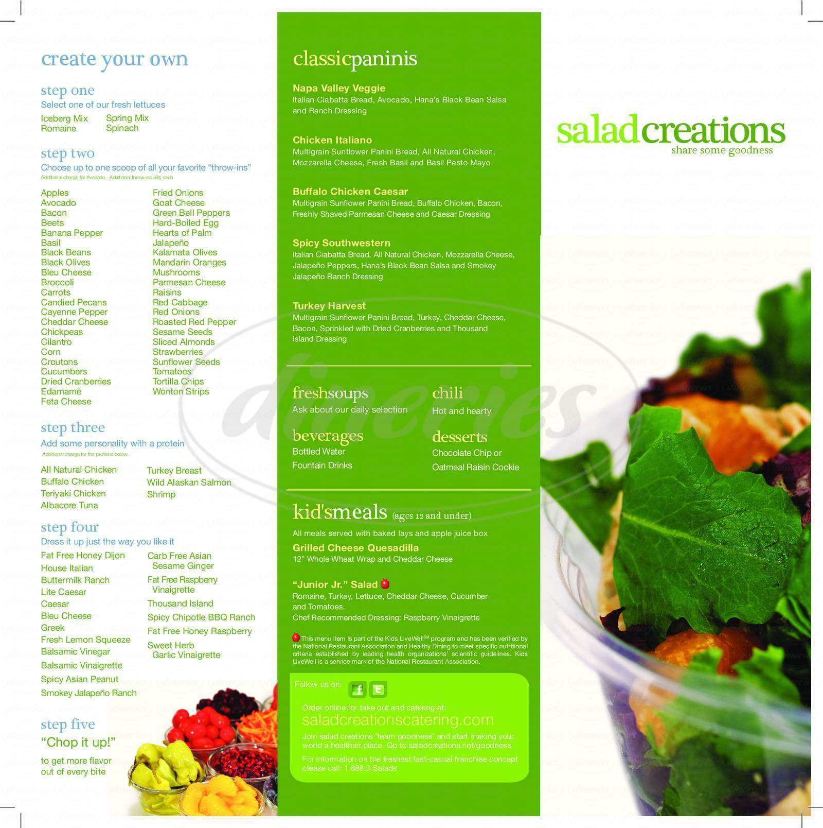 menu for Salad Creations