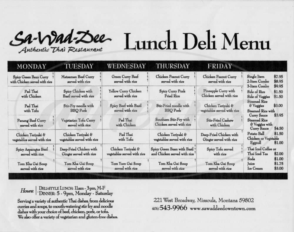 menu for Sa Wad Dee