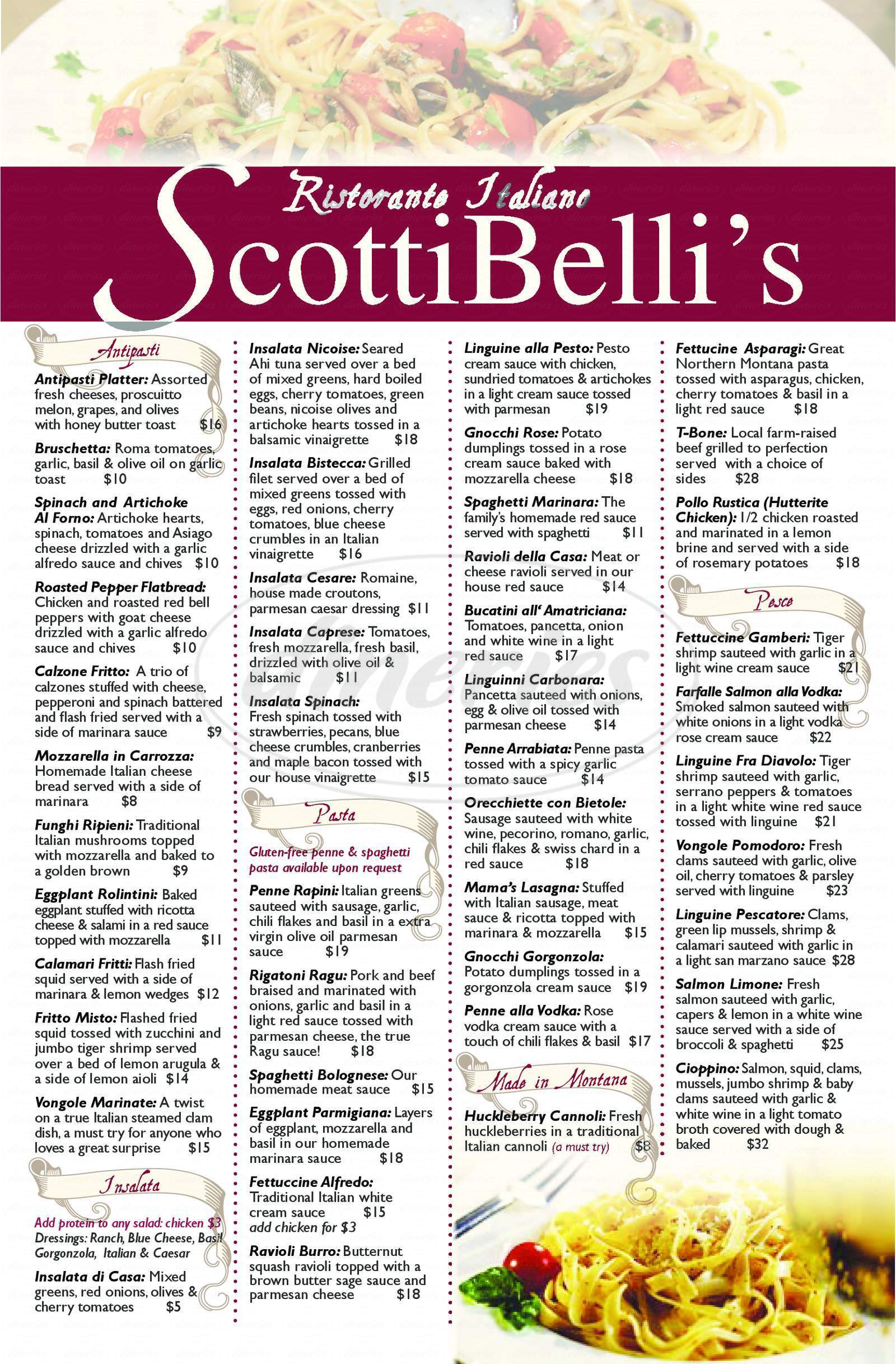 menu for Scottibelli's Pizza