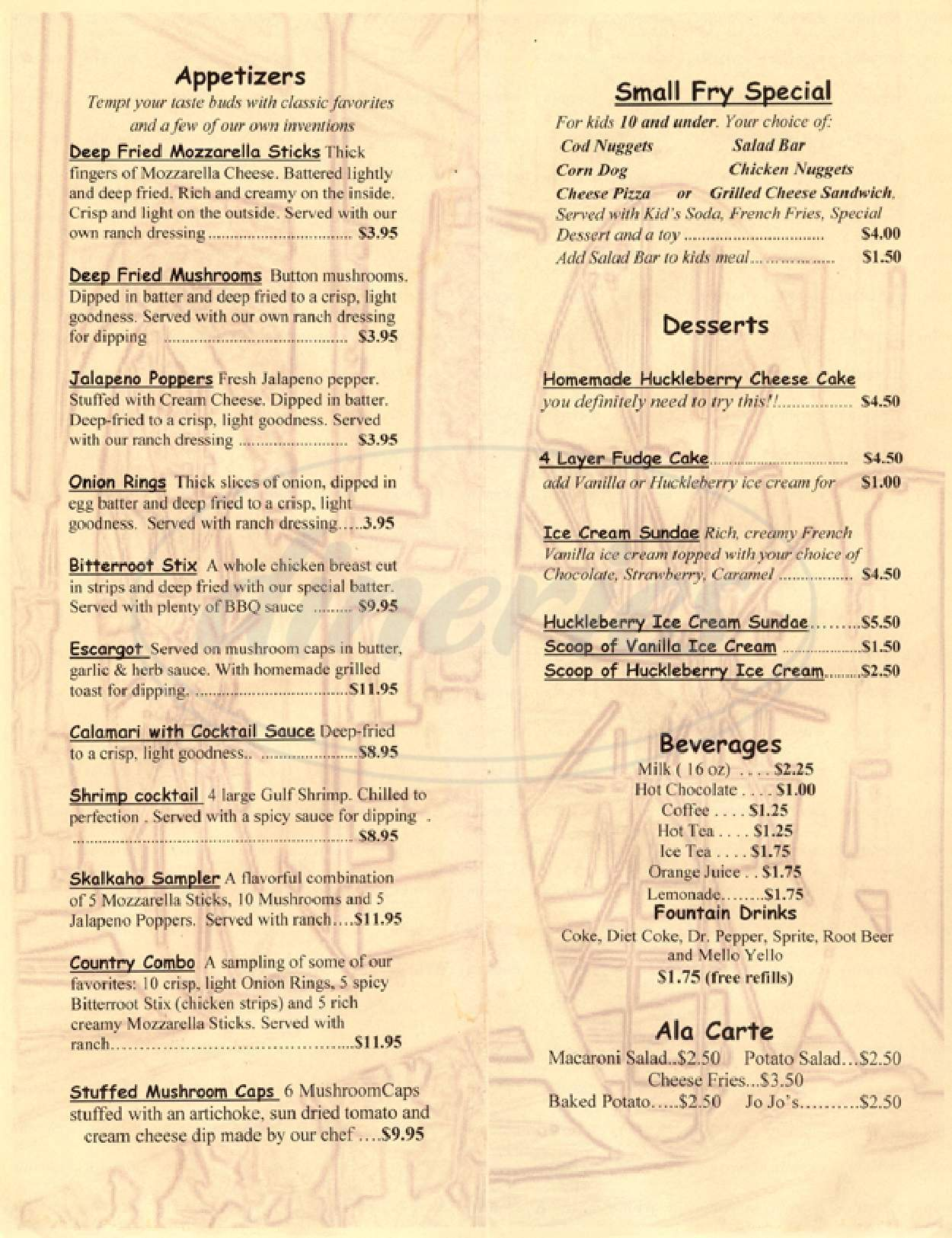 menu for Skalkaho Lodge Steakhouse
