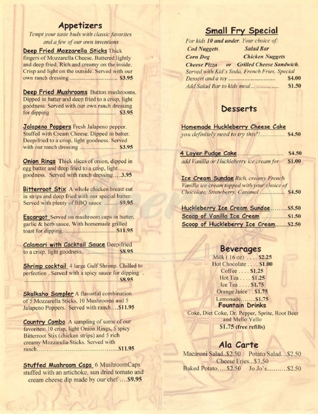 menu for Skalkaho Lodge Steakhouse