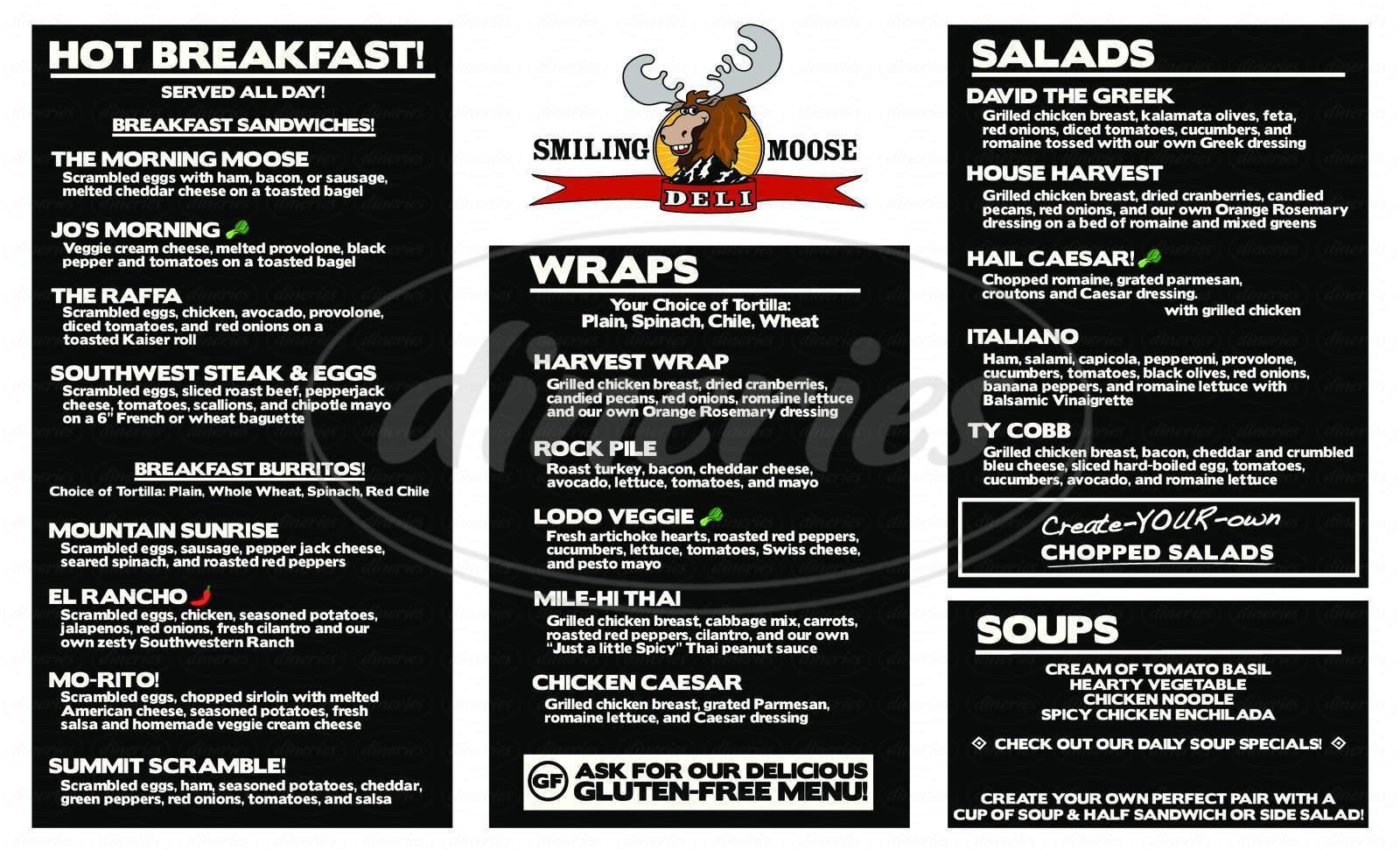menu for Smiling Moose Deli
