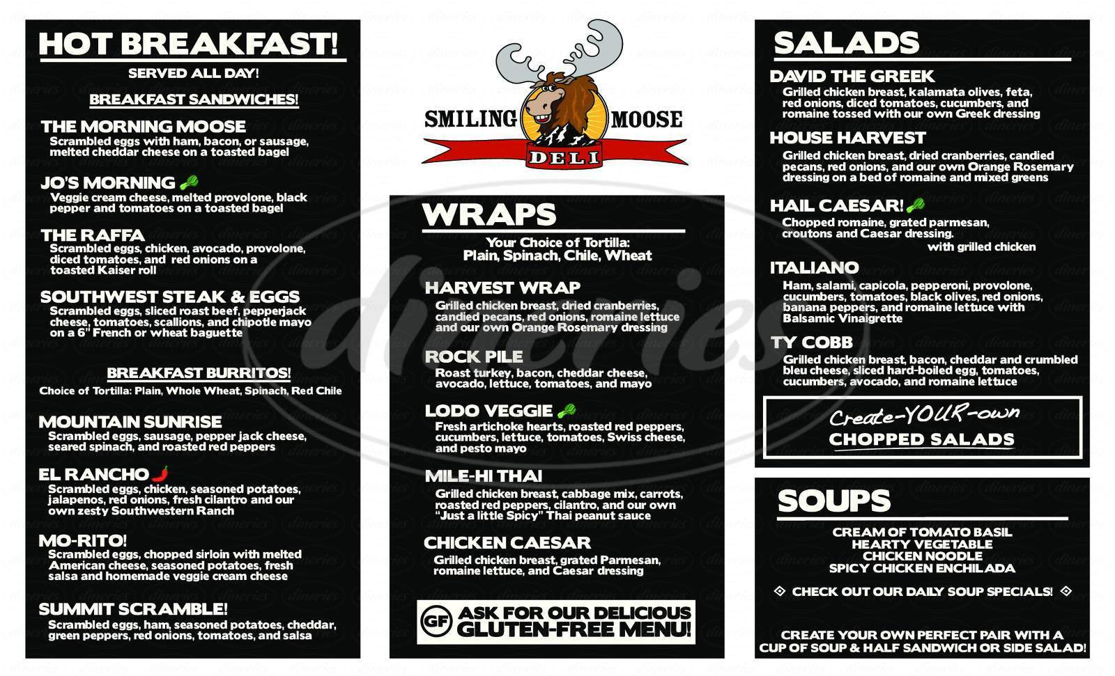 menu for Smiling Moose Deli, 4-Corners