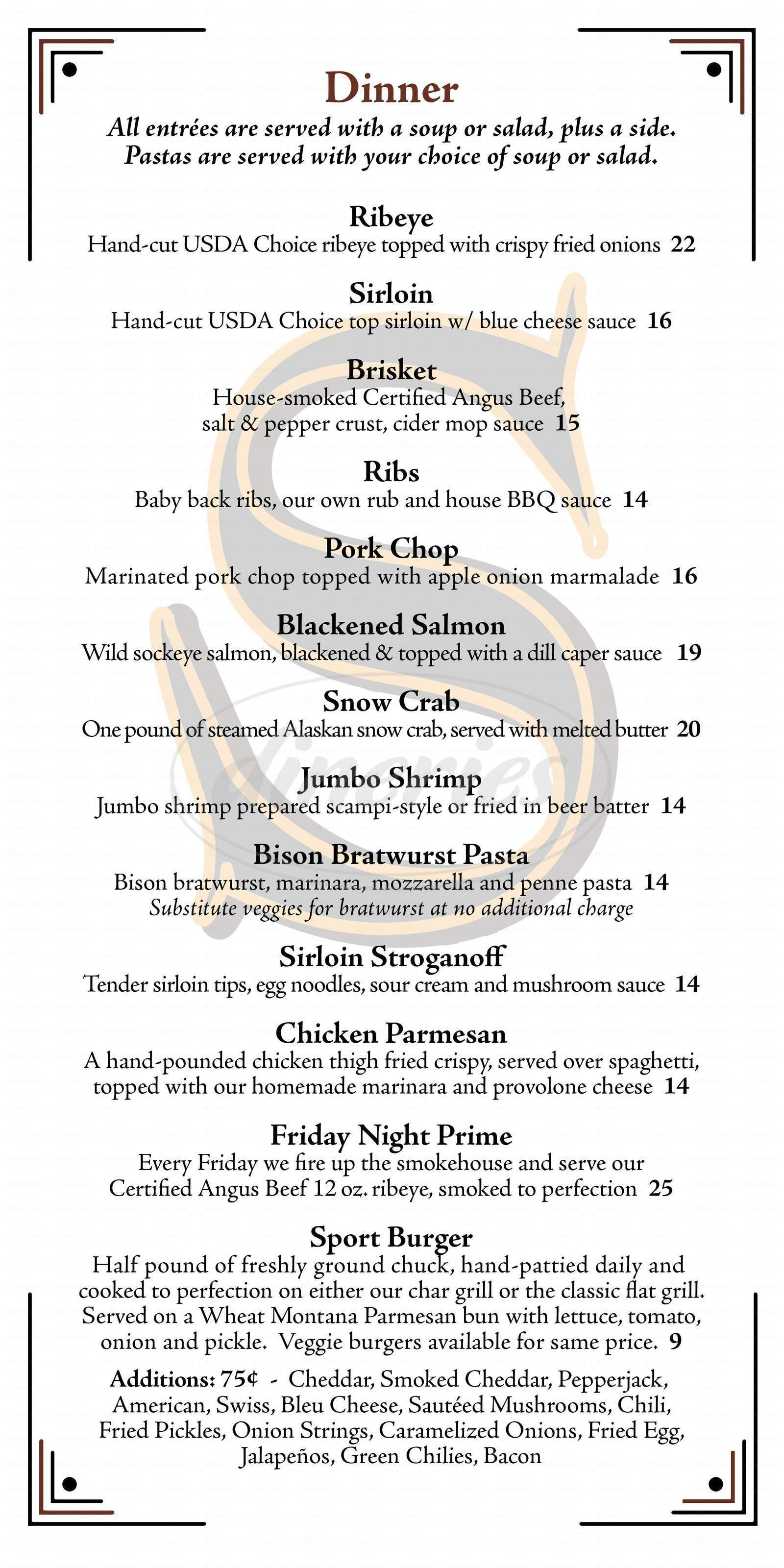 menu for The Sport Bar and Grill