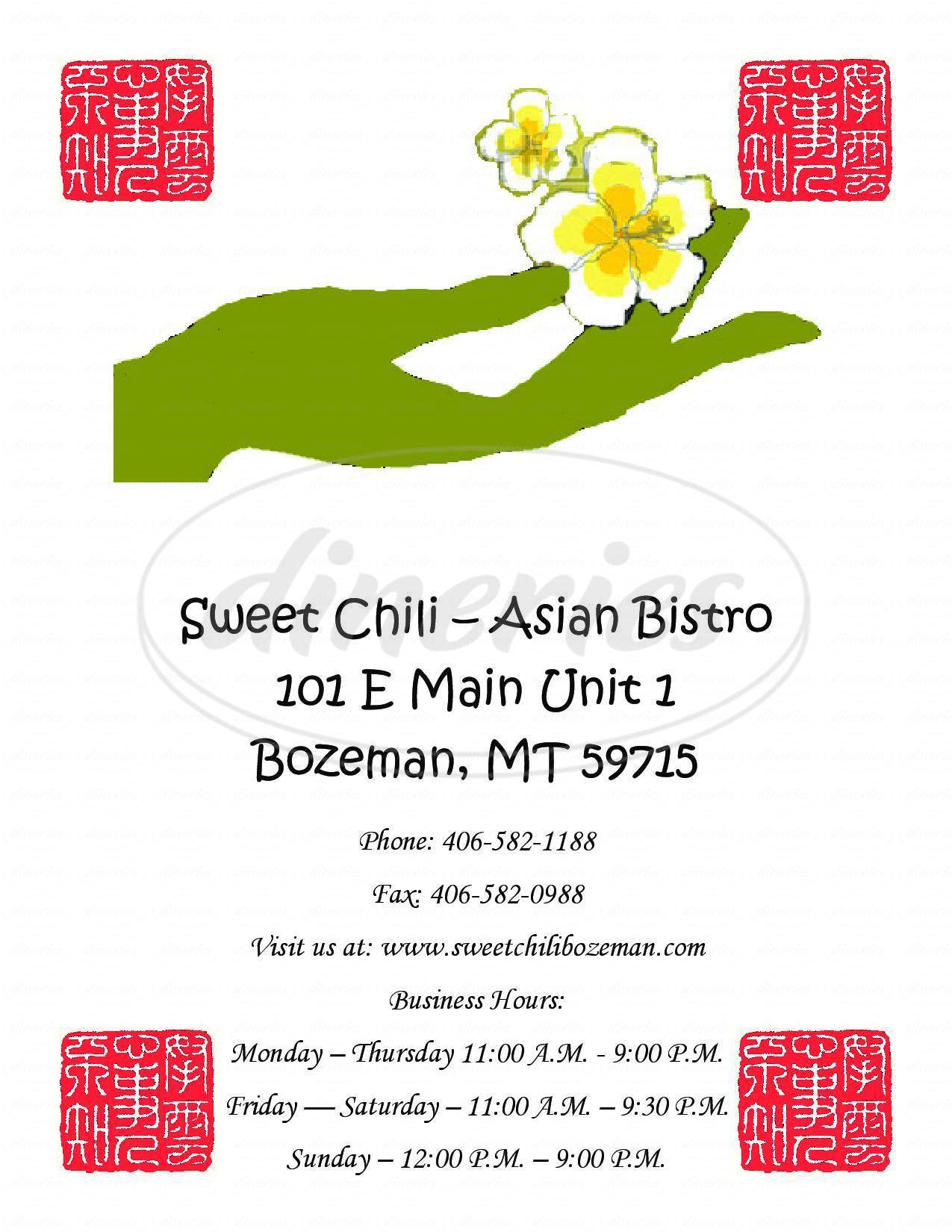 menu for Sweet Chili Asian Bistro
