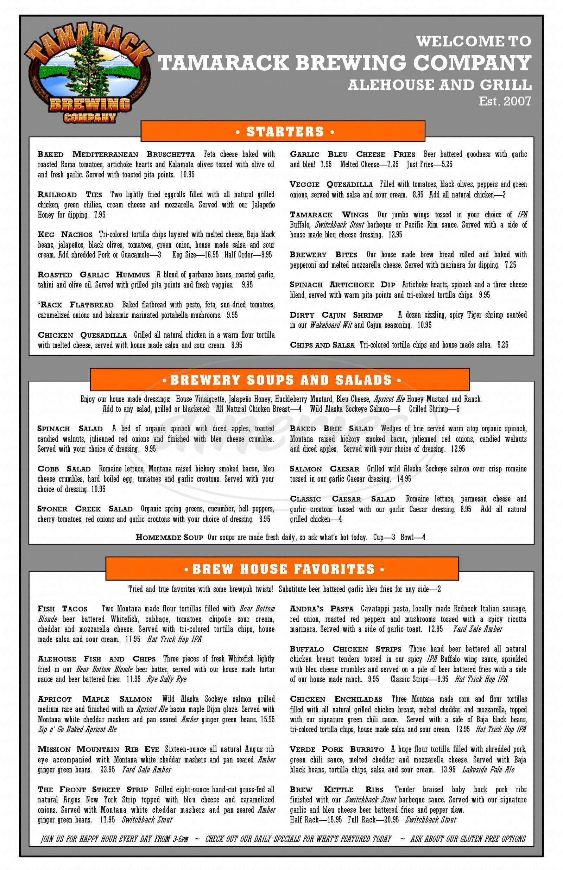 menu for Tamarack Brewing Company