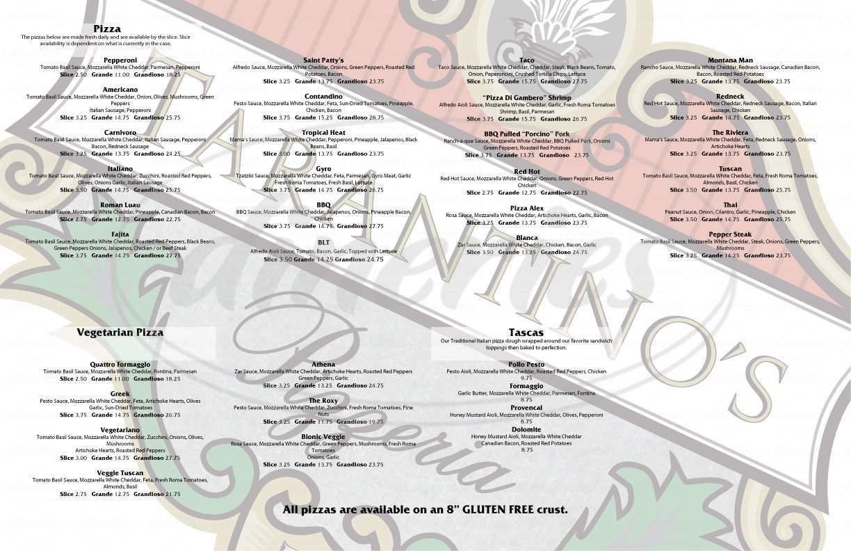 menu for Tarantino's Pizza