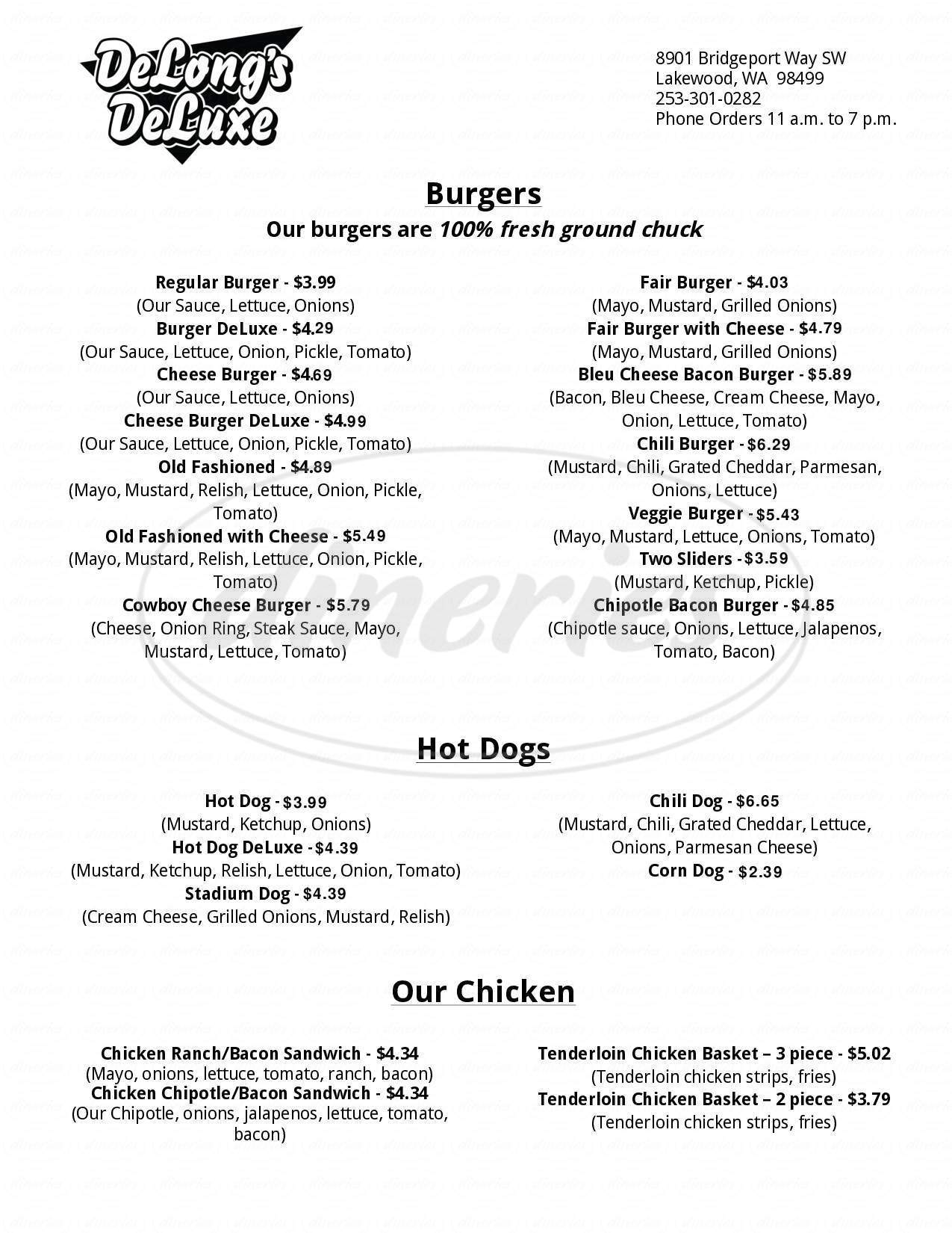 menu for DeLong's DeLuxe