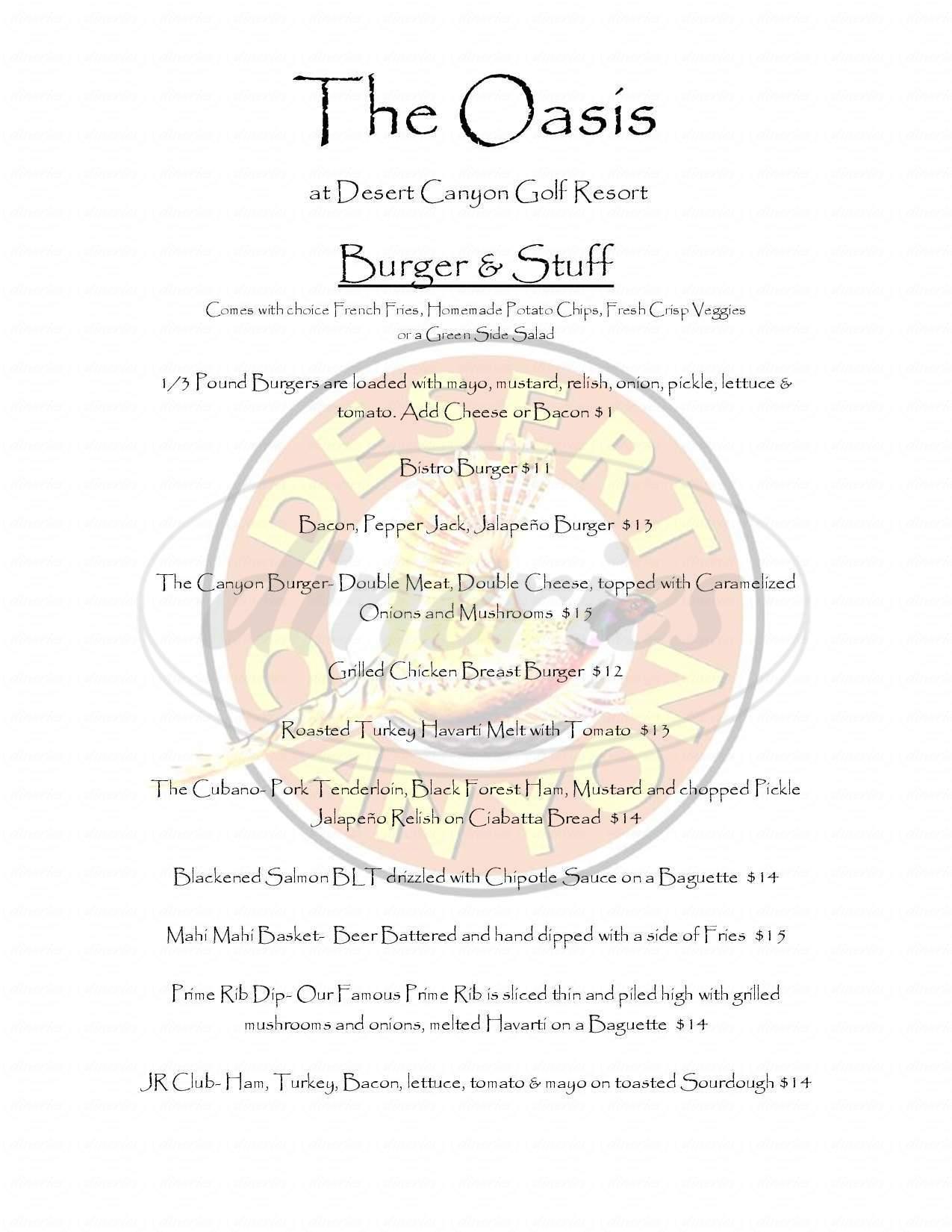 menu for Desert Canyon Golf Resort