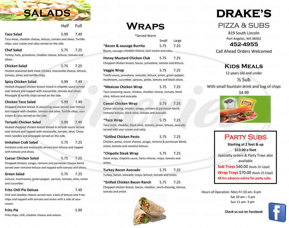 menu for Drake's U-Bake Pizza & Subs