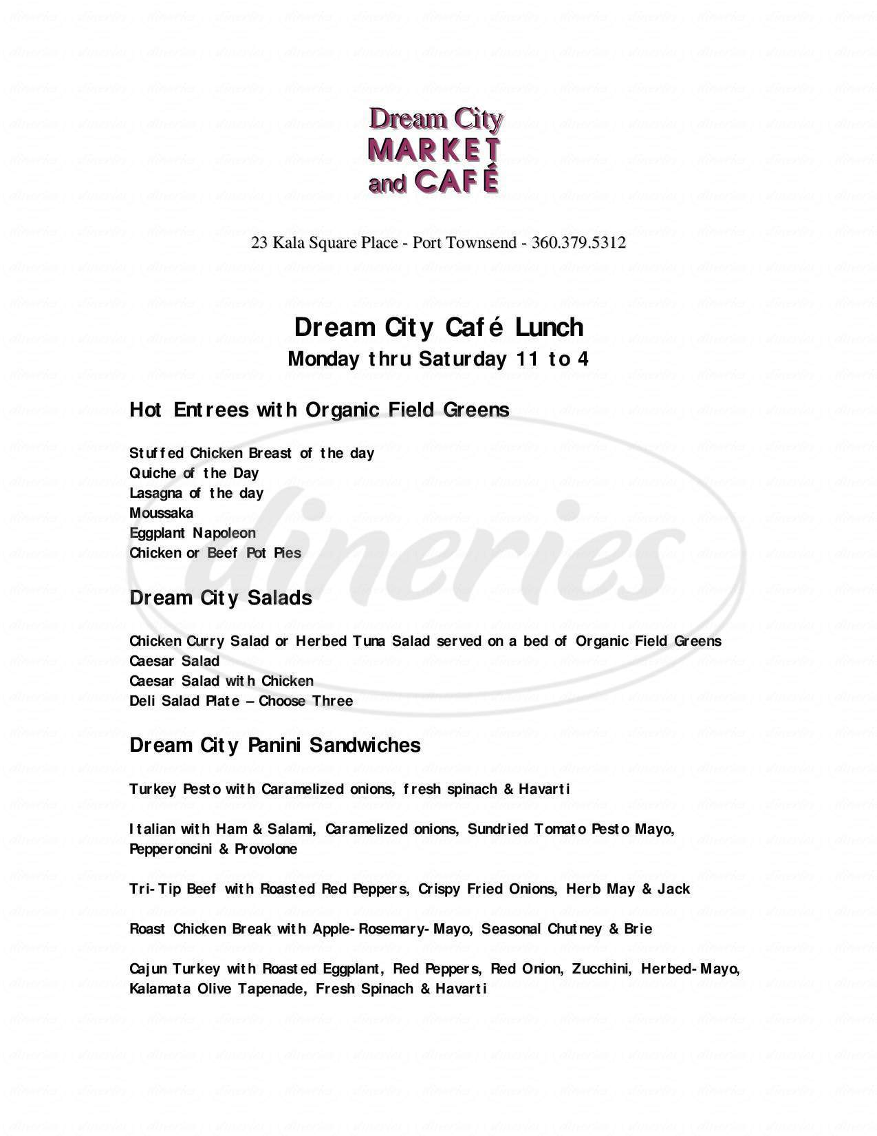 menu for Dream City Catering Inc
