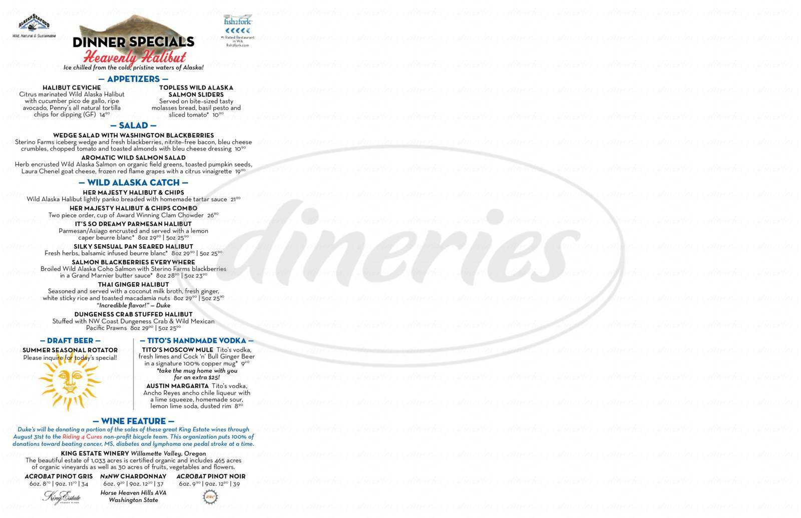 menu for Duke's Chowder House