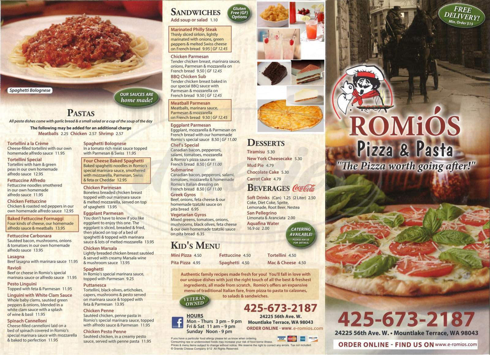 menu for Romio's Pizza and Pasta