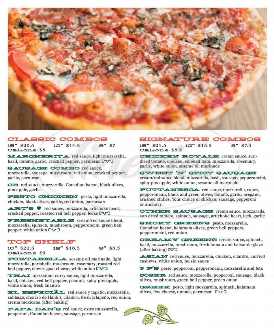 menu for East 20 Pizza