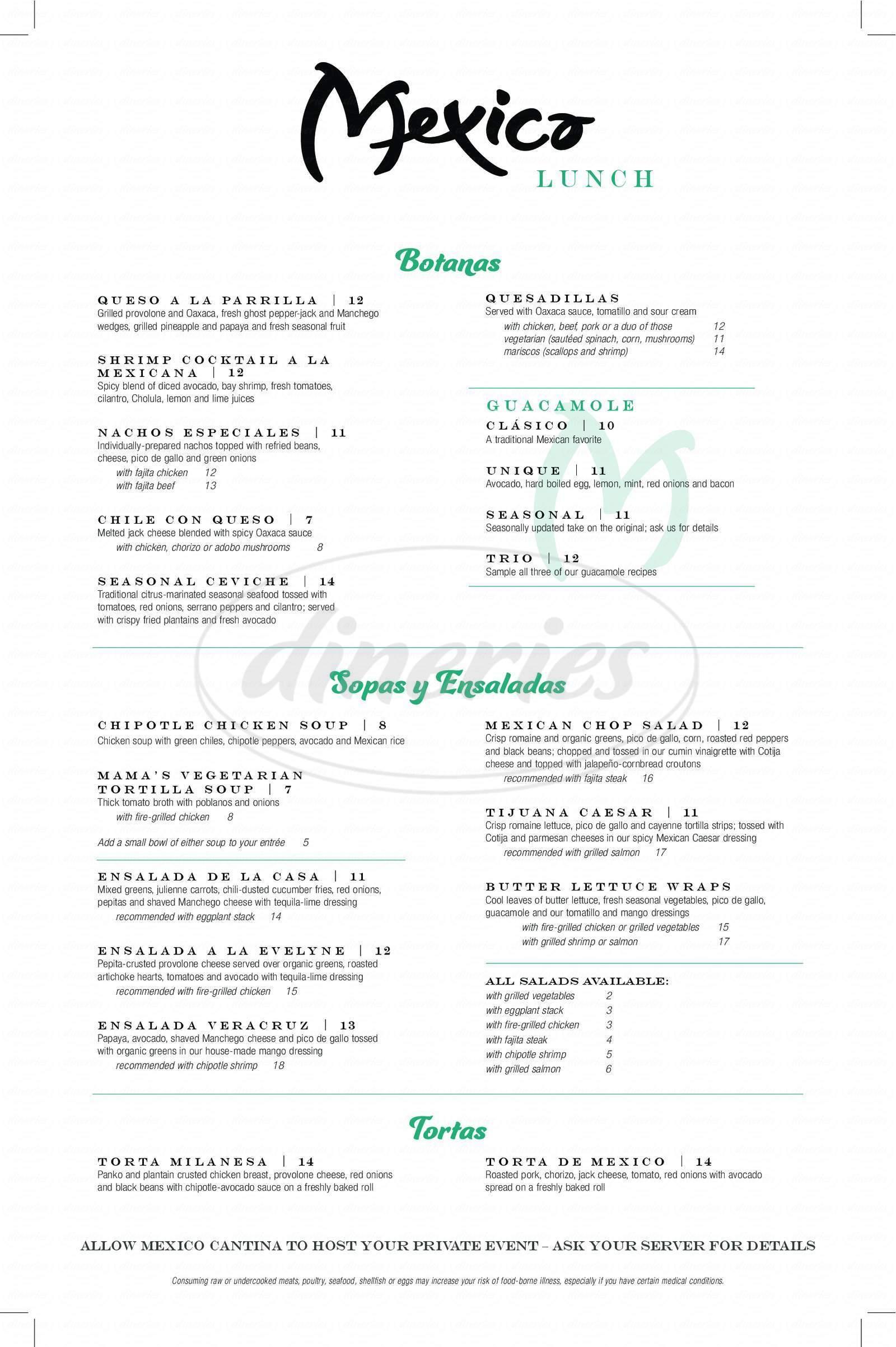menu for Mexico Cantina y Cocina
