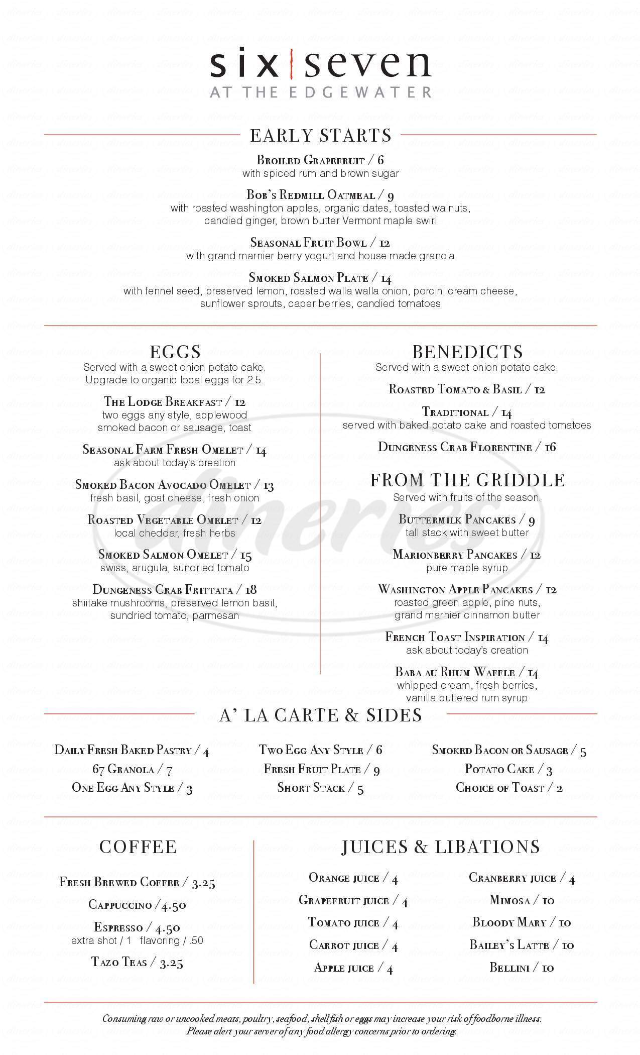 menu for Six Seven Restaurant