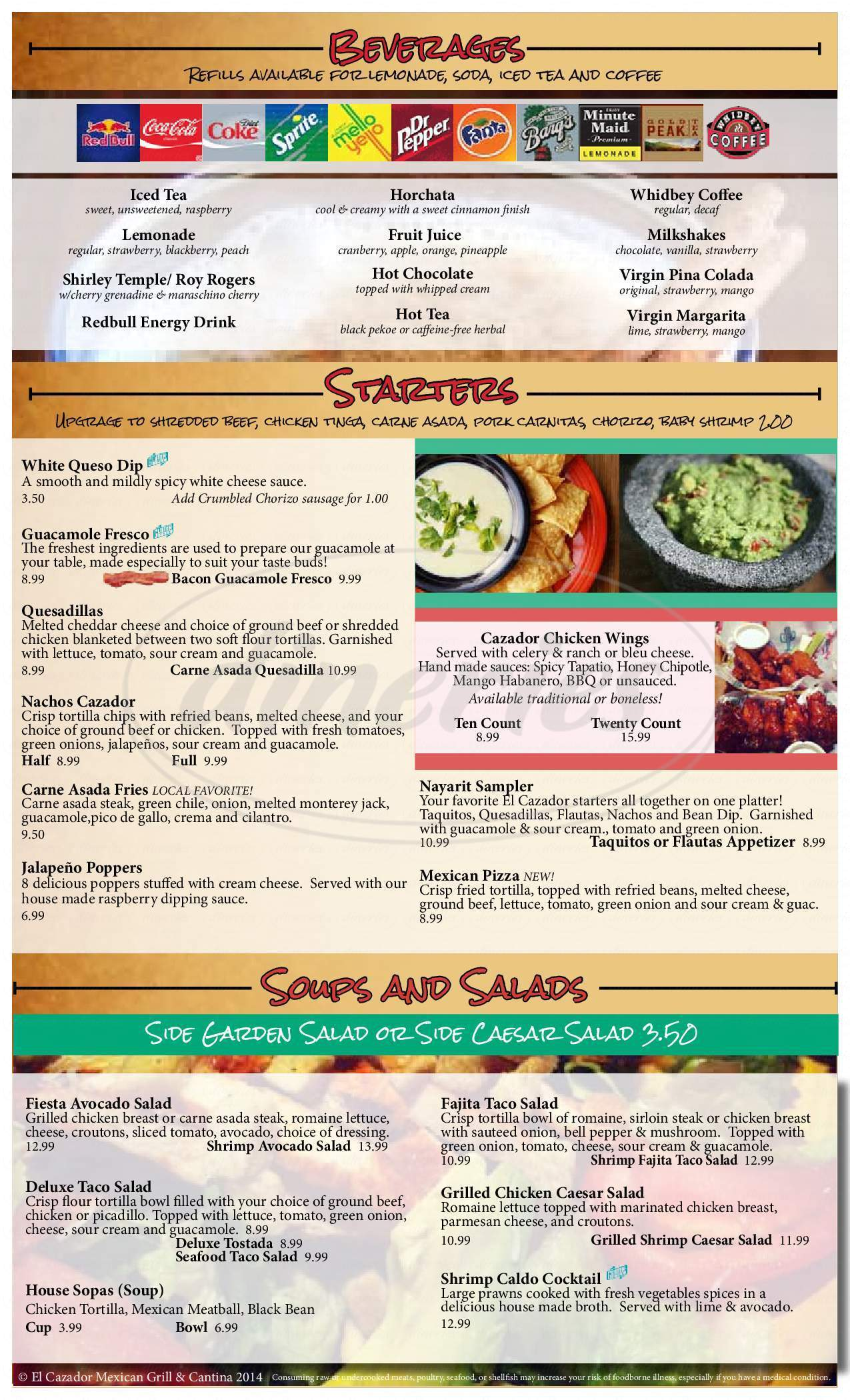 menu for El Cazador Mexican Grill and Cantina