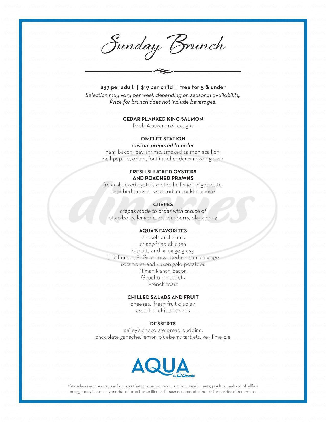 menu for AQUA by El Gaucho
